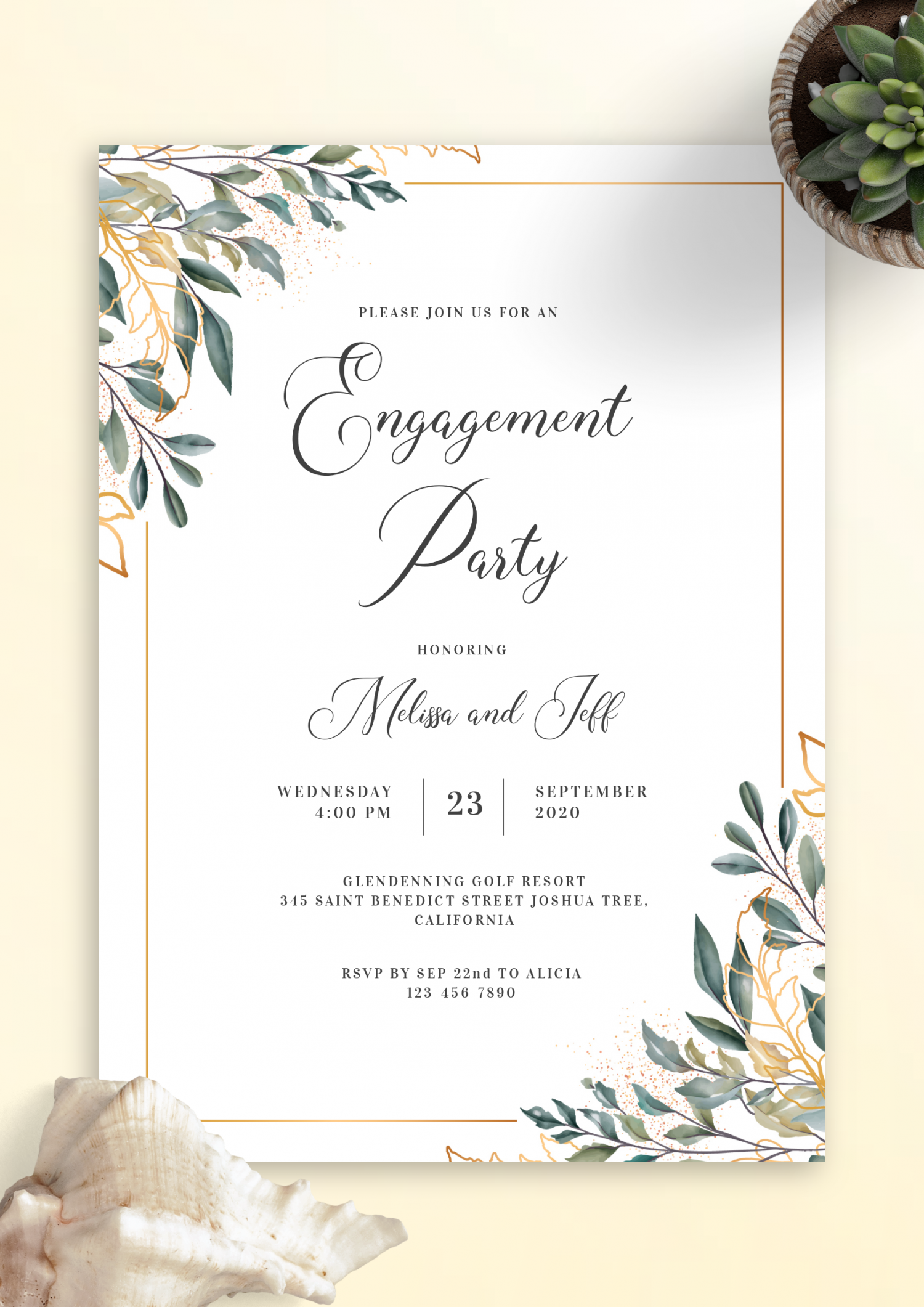 Download Printable Golden Leaves Engagement Party Invitation PDF
