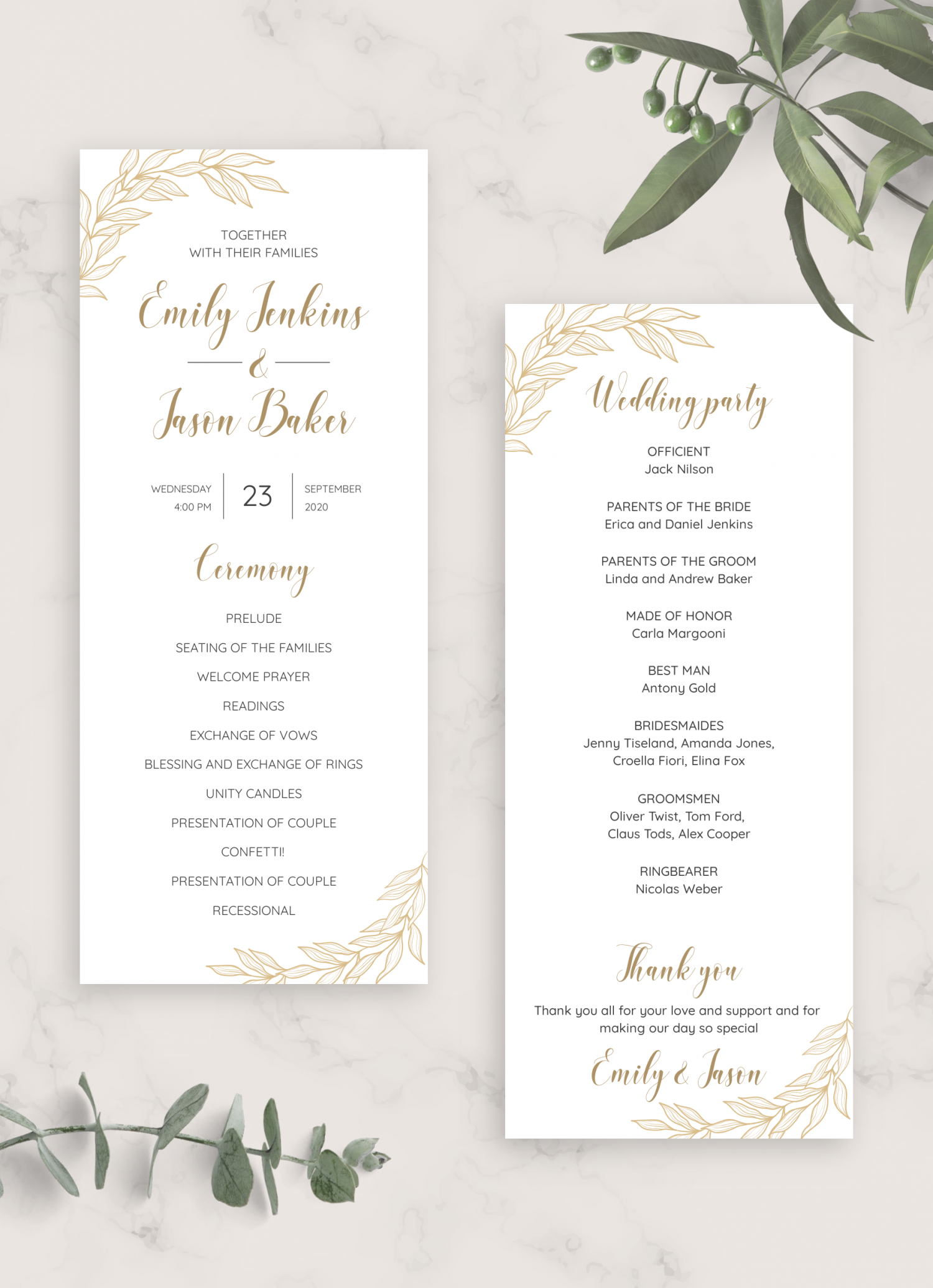 Download Printable Golden Wedding Program PDF