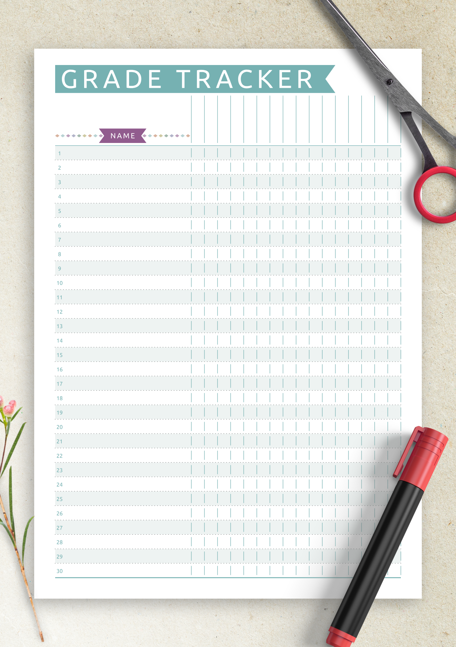 photo regarding Printable Gradebook Pages named Absolutely free Printable Gradebook Template - Everyday Design PDF Obtain