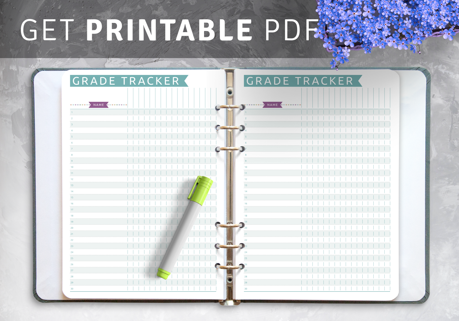 Download Printable Gradebook Template Casual Style Pdf