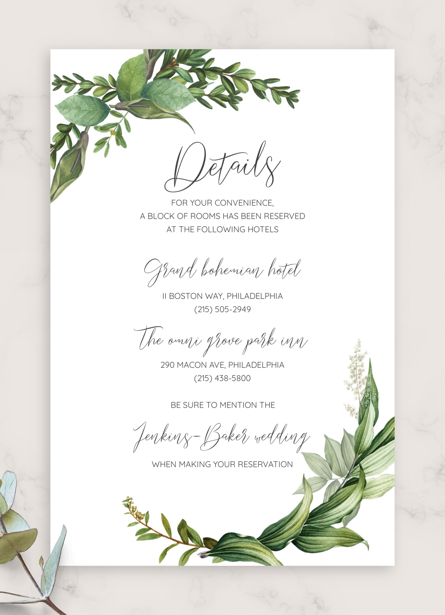 download printable green floral wedding details card pdf