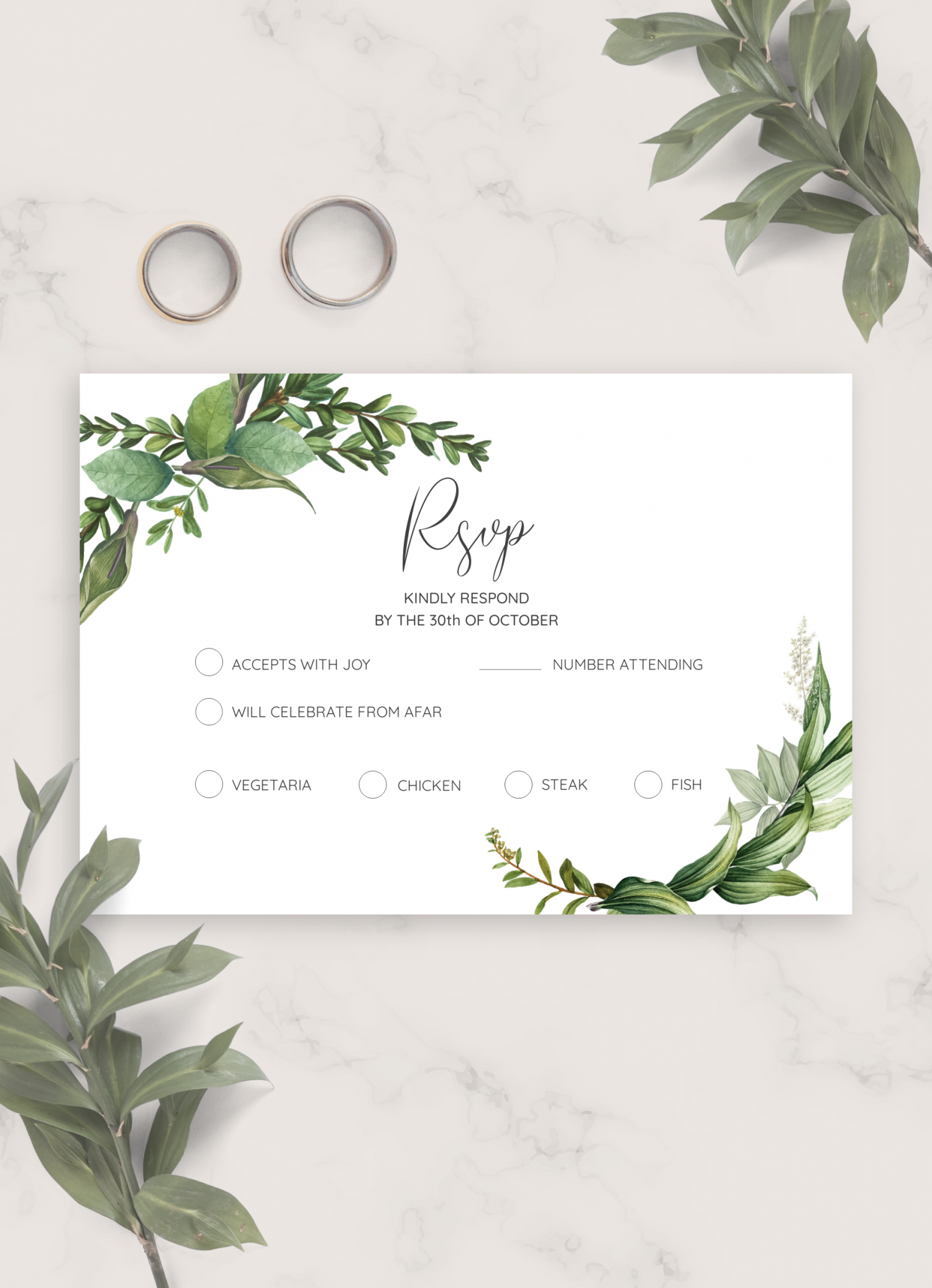 download printable green floral wedding invitation suite pdf