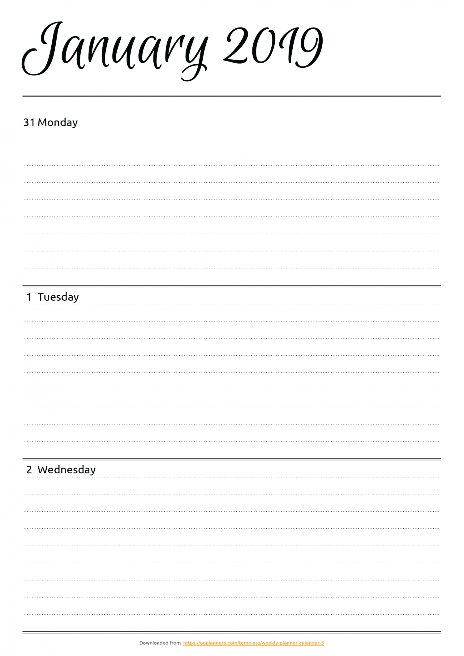 graphic relating to Free Weekly Planner Printables identified as Totally free Printable Horizontal weekly planner PDF Down load