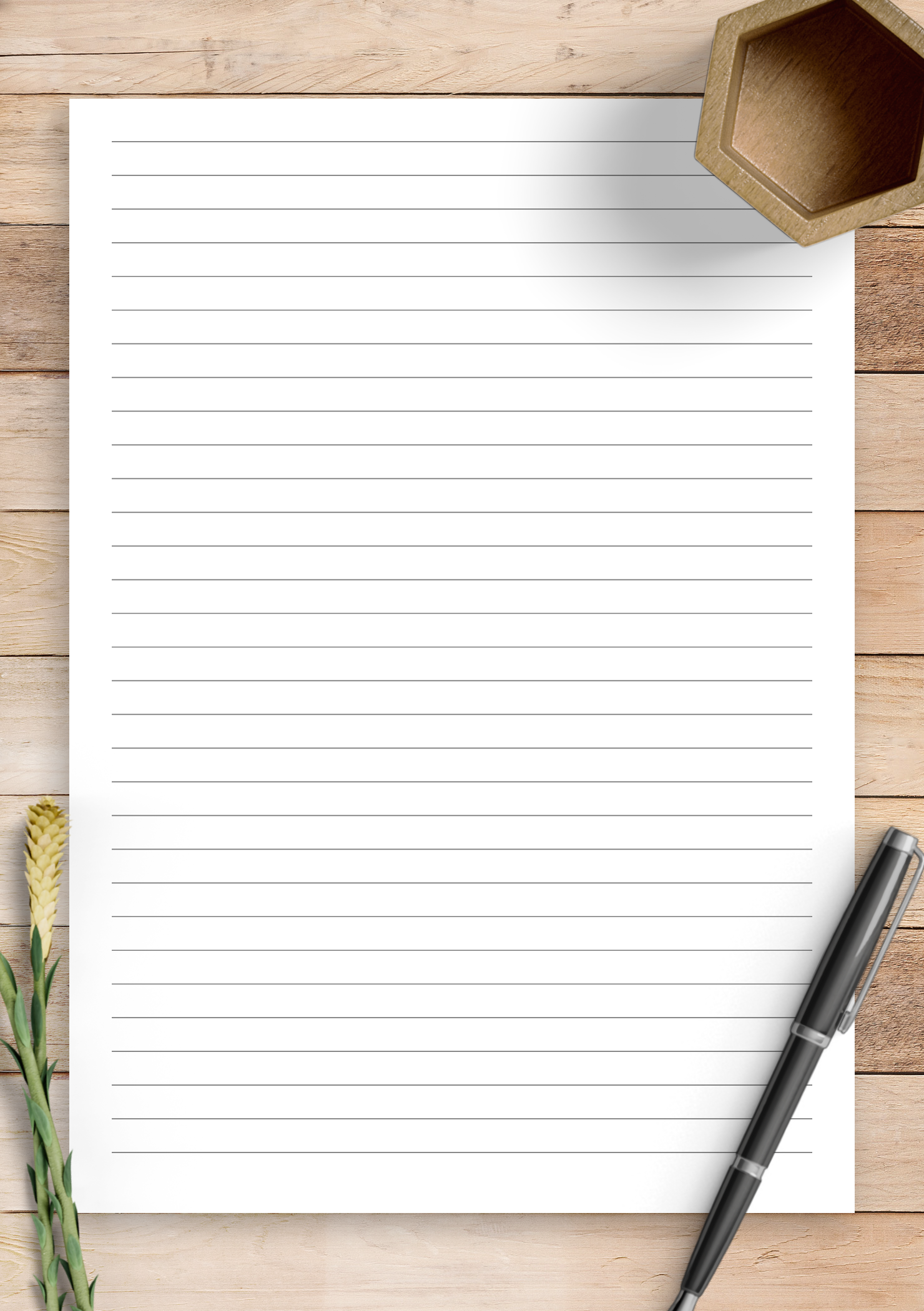Download Printable Lined Paper Template - Narrow Ruled 1/4 ...