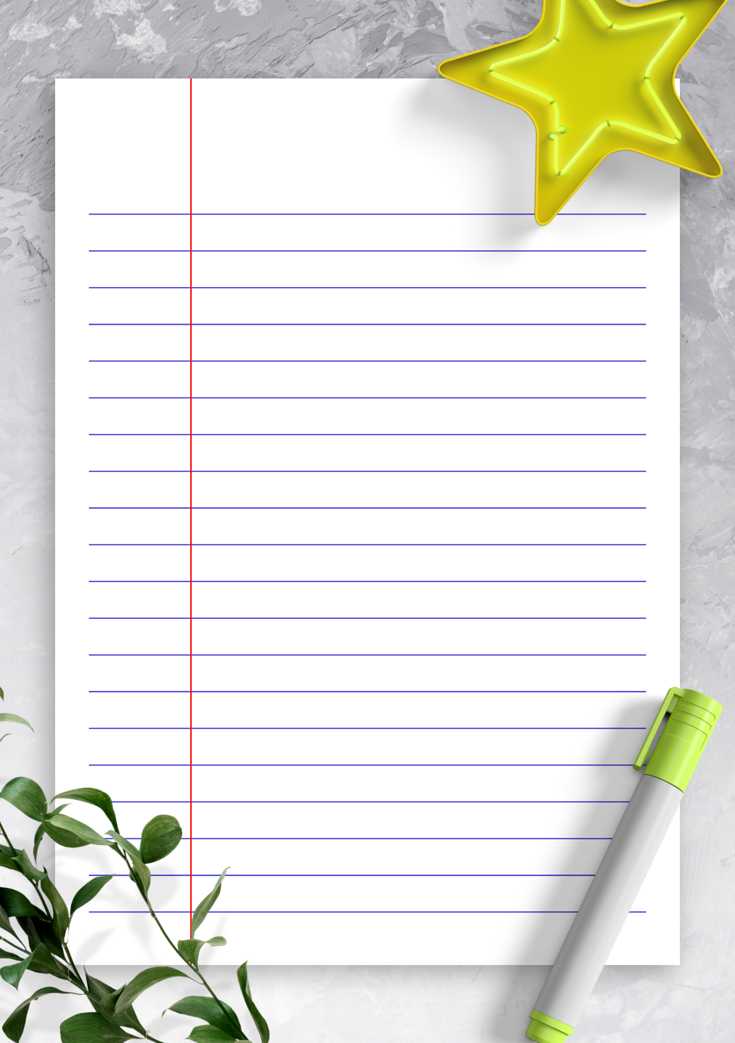 Free Printable Lined Paper Template - Wide Ruled 8 7mm blue