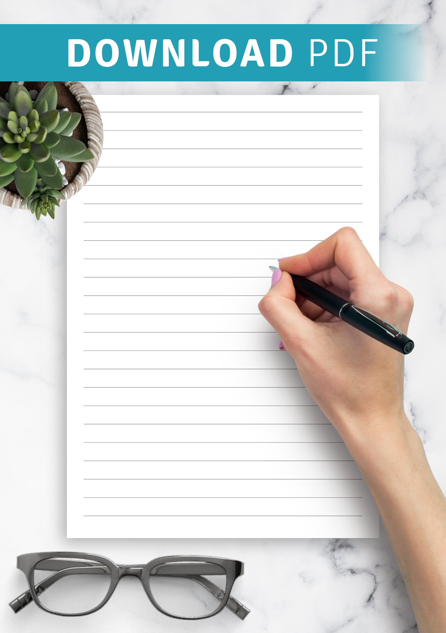 Download Printable Lined Paper Template   Wide Ruled 40.40mm PDF