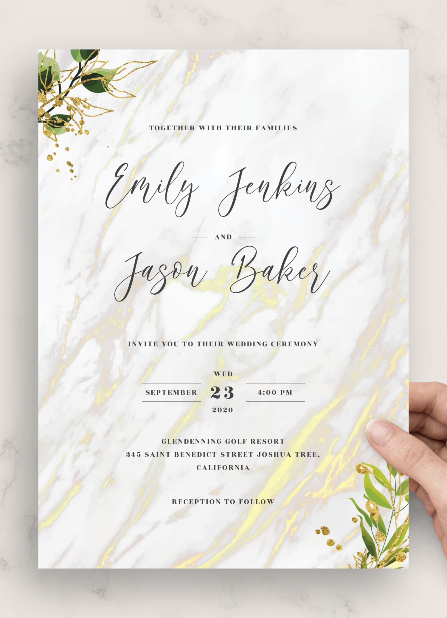 White Wishing Well Marble Engagement Invitation Calligraphy Light Marble Printable Invitation Editable Template