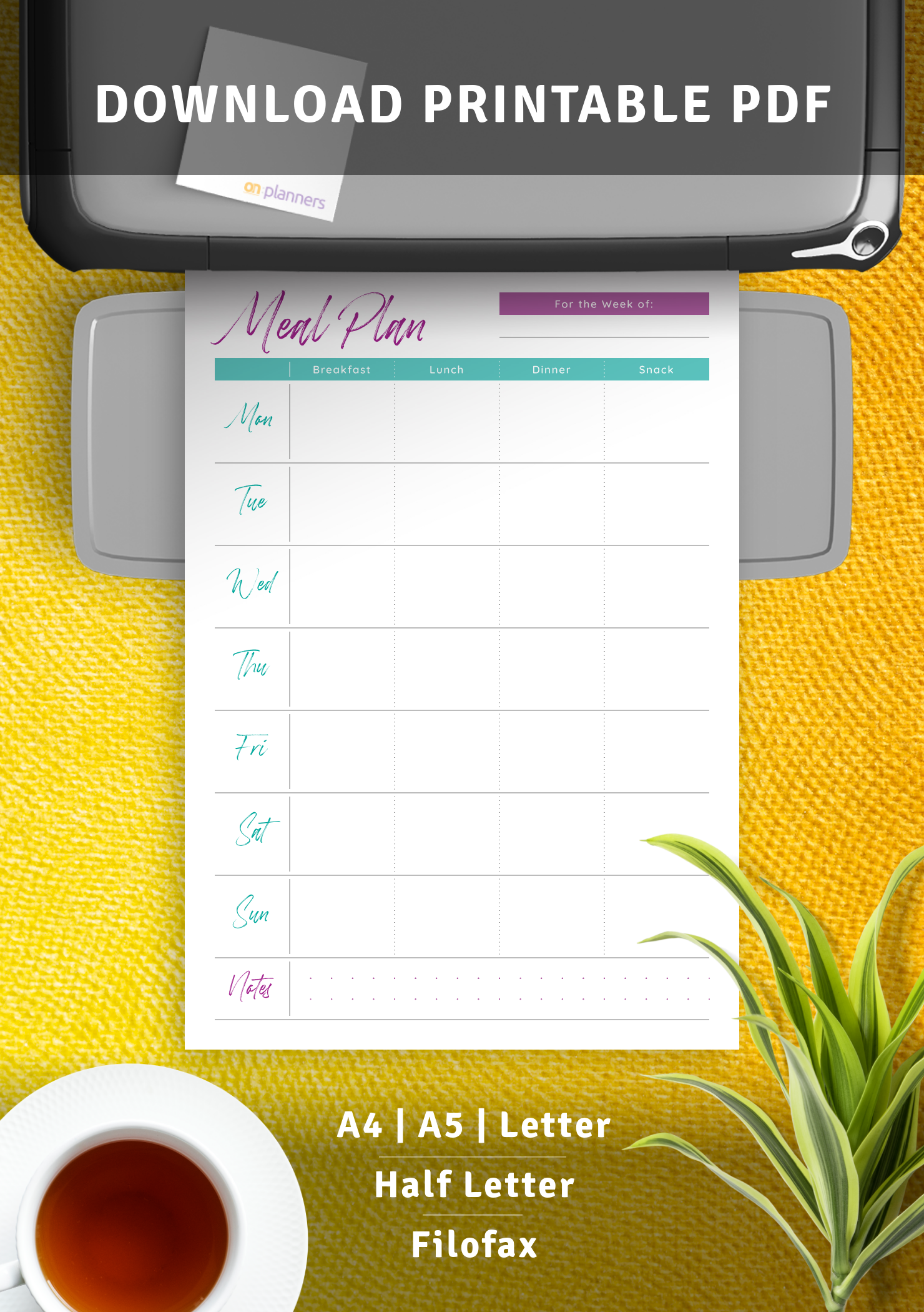 download printable meal plan for the week pdf