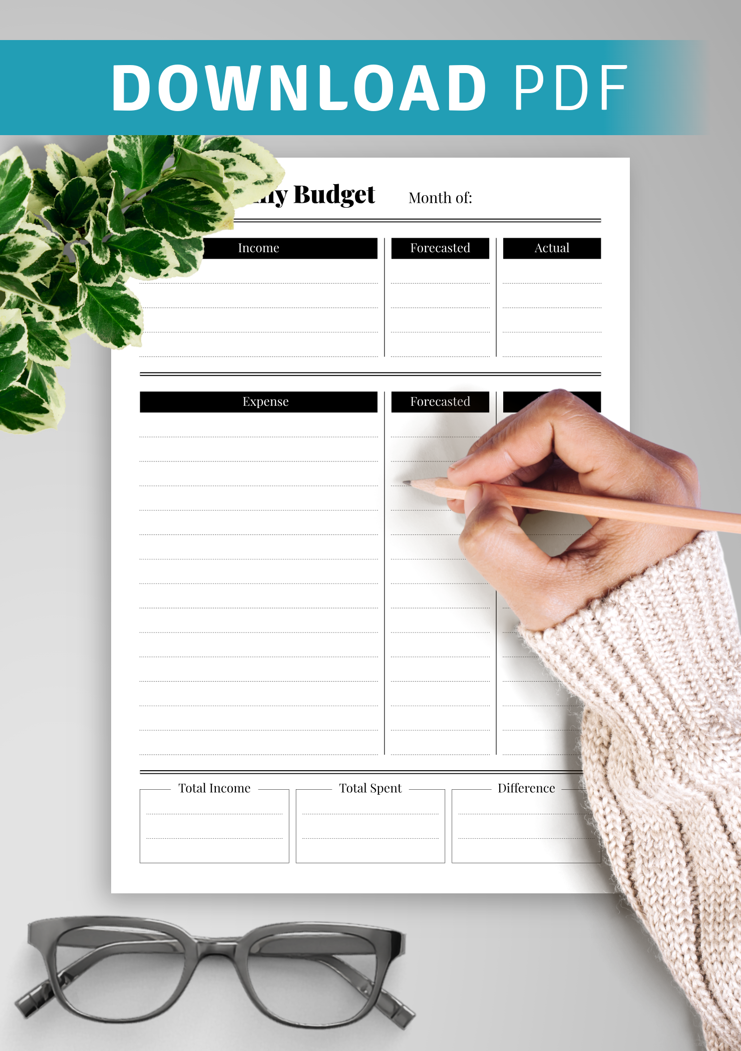 Download Printable Monthly budget with income and spent difference PDF
