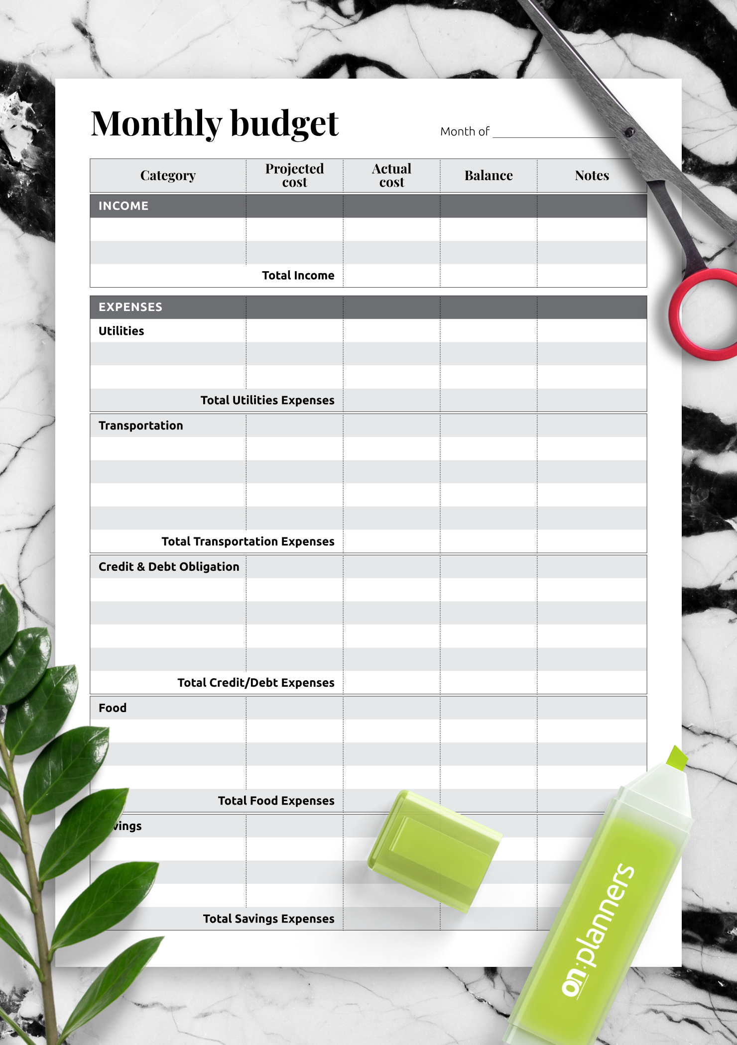 image relating to Printable Monthly Budget named No cost Printable Regular funds with overall charge pieces