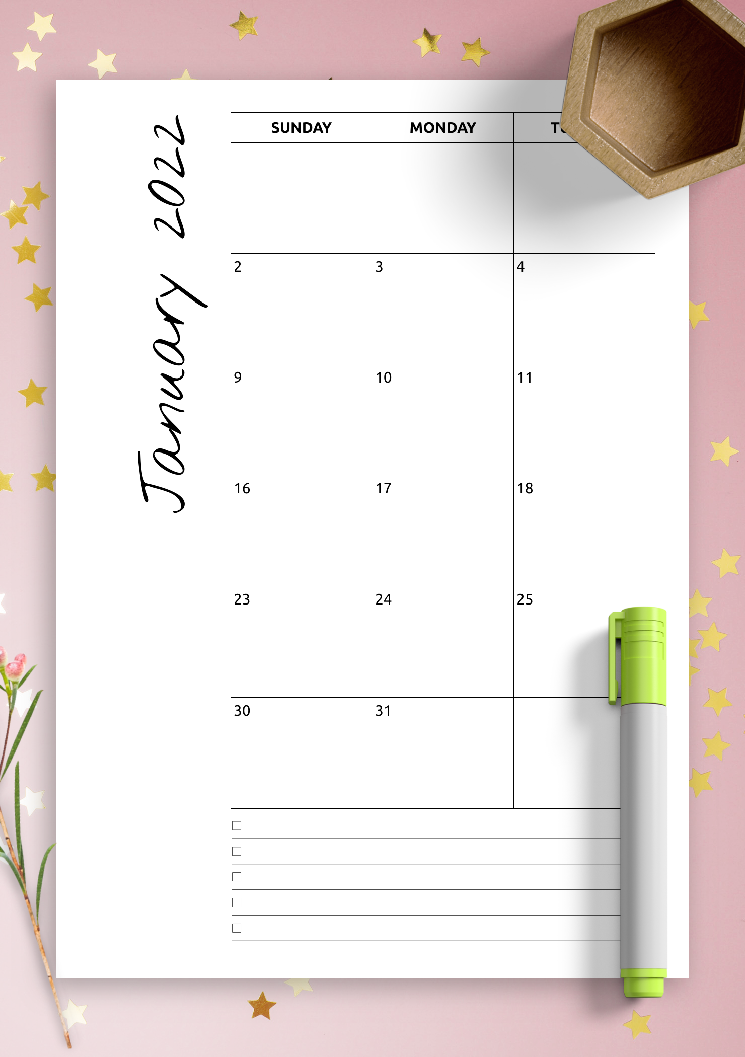 Download Printable Monthly Calendar With Notes Pdf