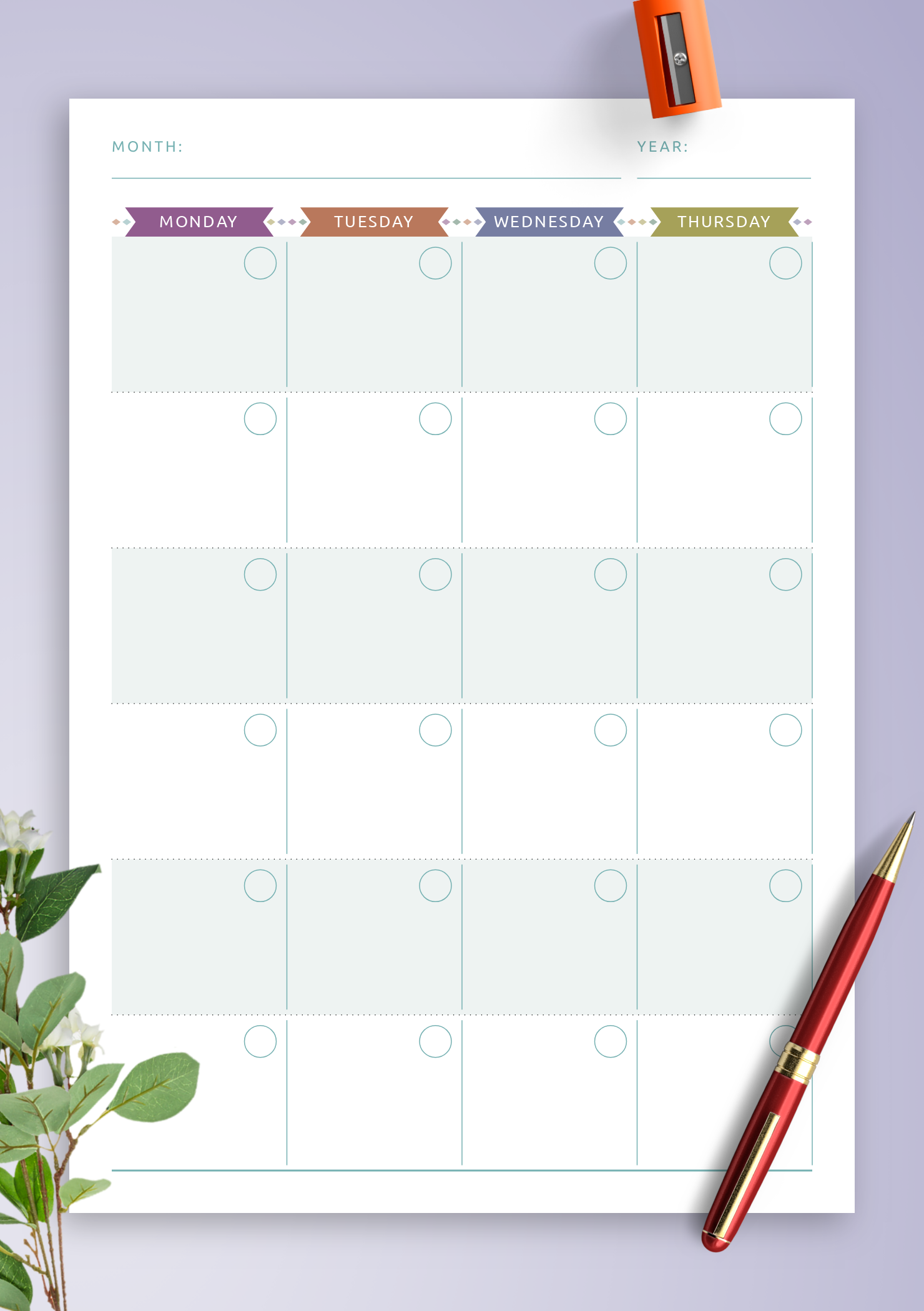 Download Printable Monthly Calendar Planner Undated ...