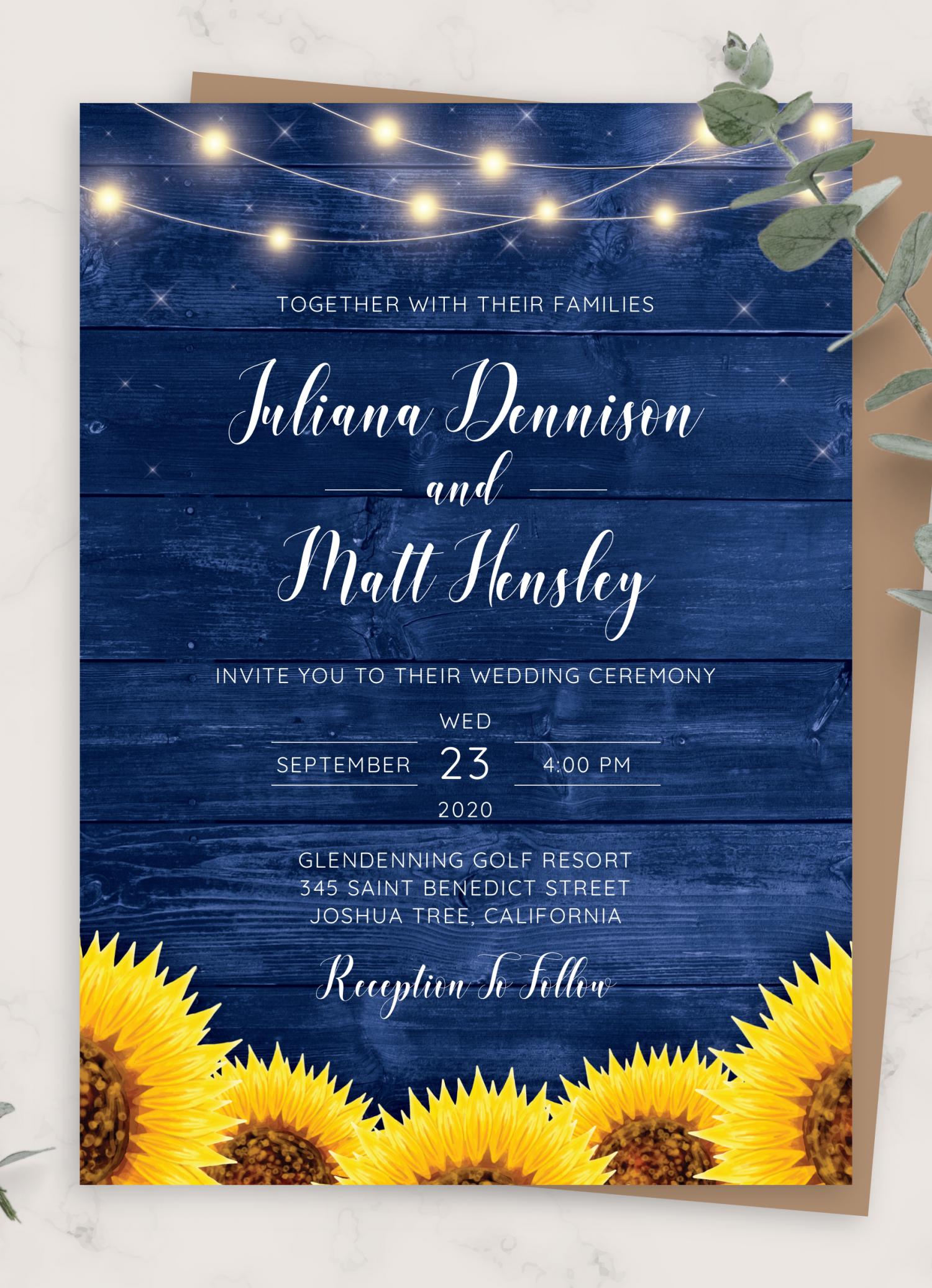 Templett Navy Wedding Invitation Set INSTANT DOWNLOAD Rustic Invites Wedding Invite DIY Printable Invite Editable pdf Papillion