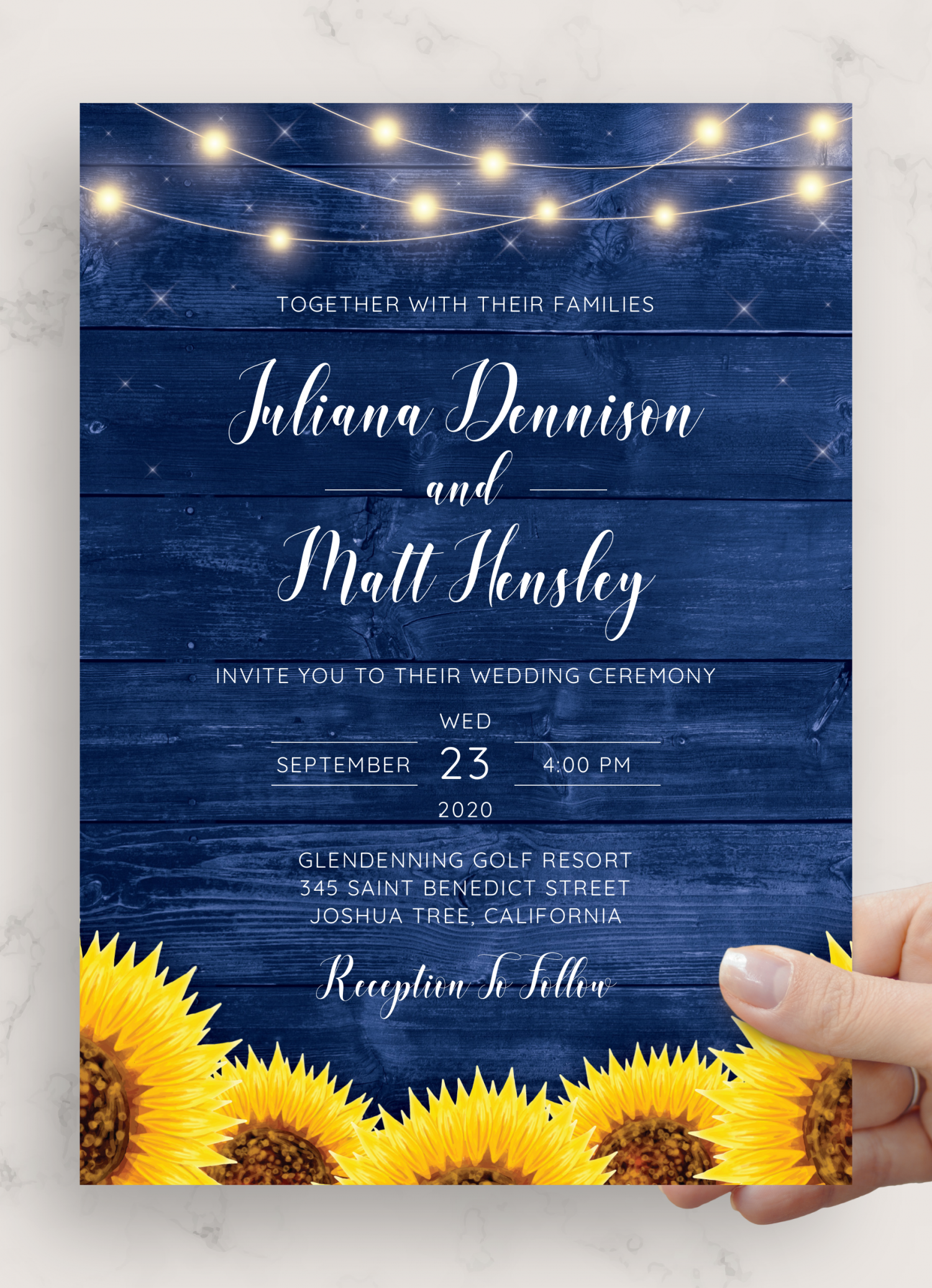 Download Printable Navy Blue Rustic Wedding Invitation PDF
