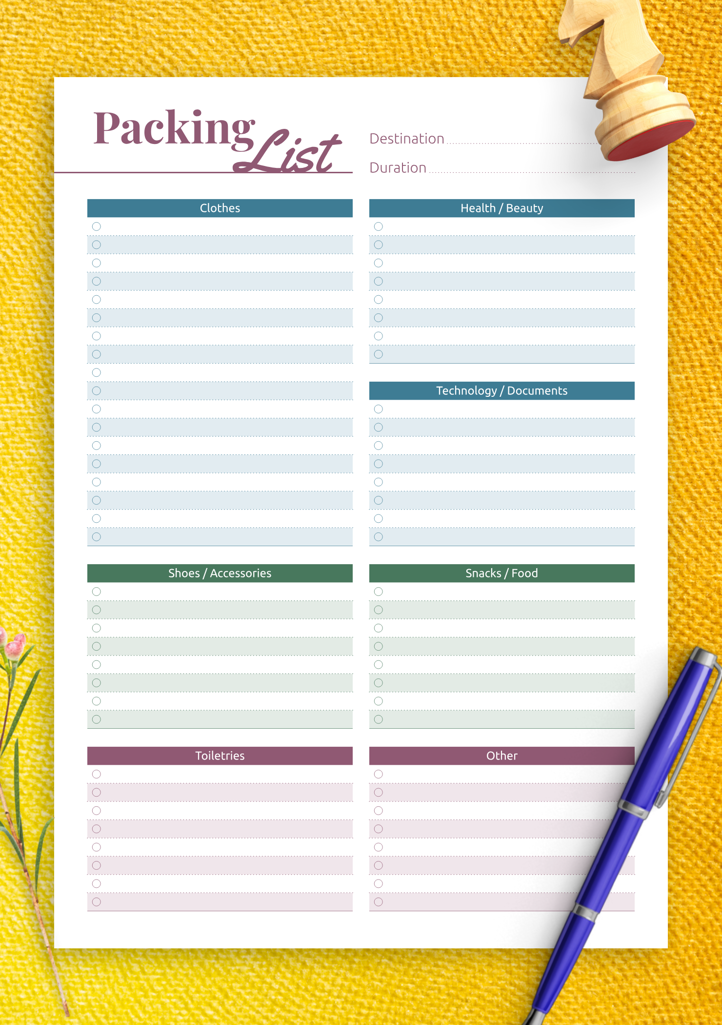 Download Printable Packing List Pdf