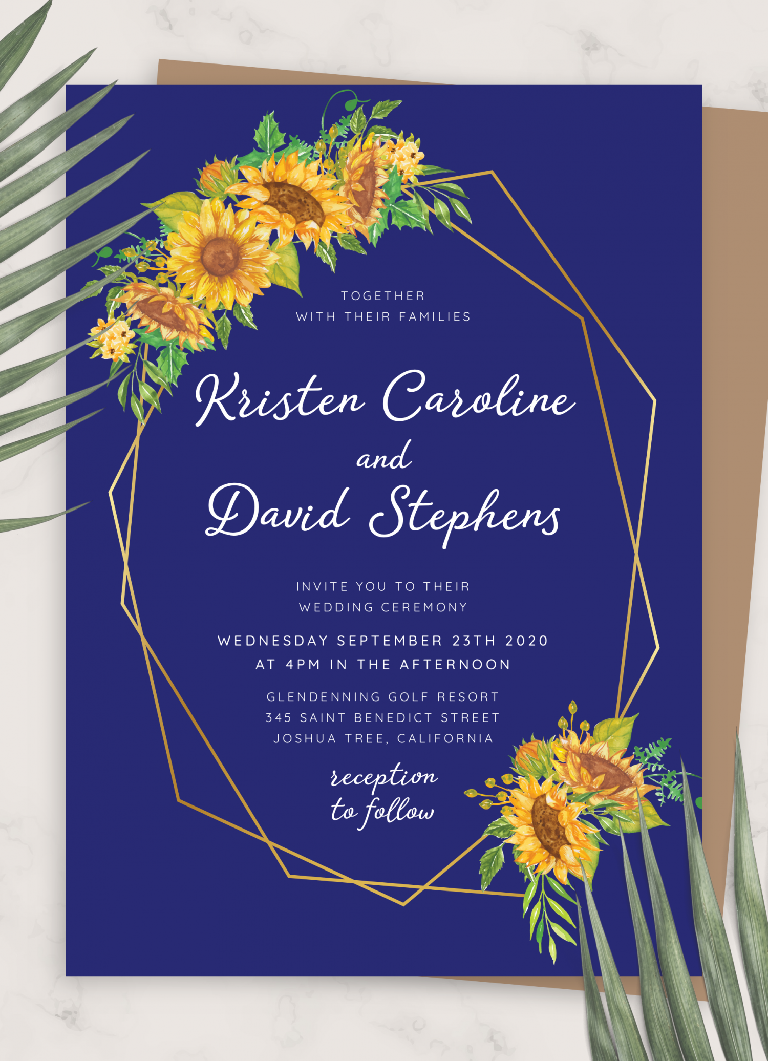 Download Printable Royal Blue Sunflower Wedding Invitation PDF
