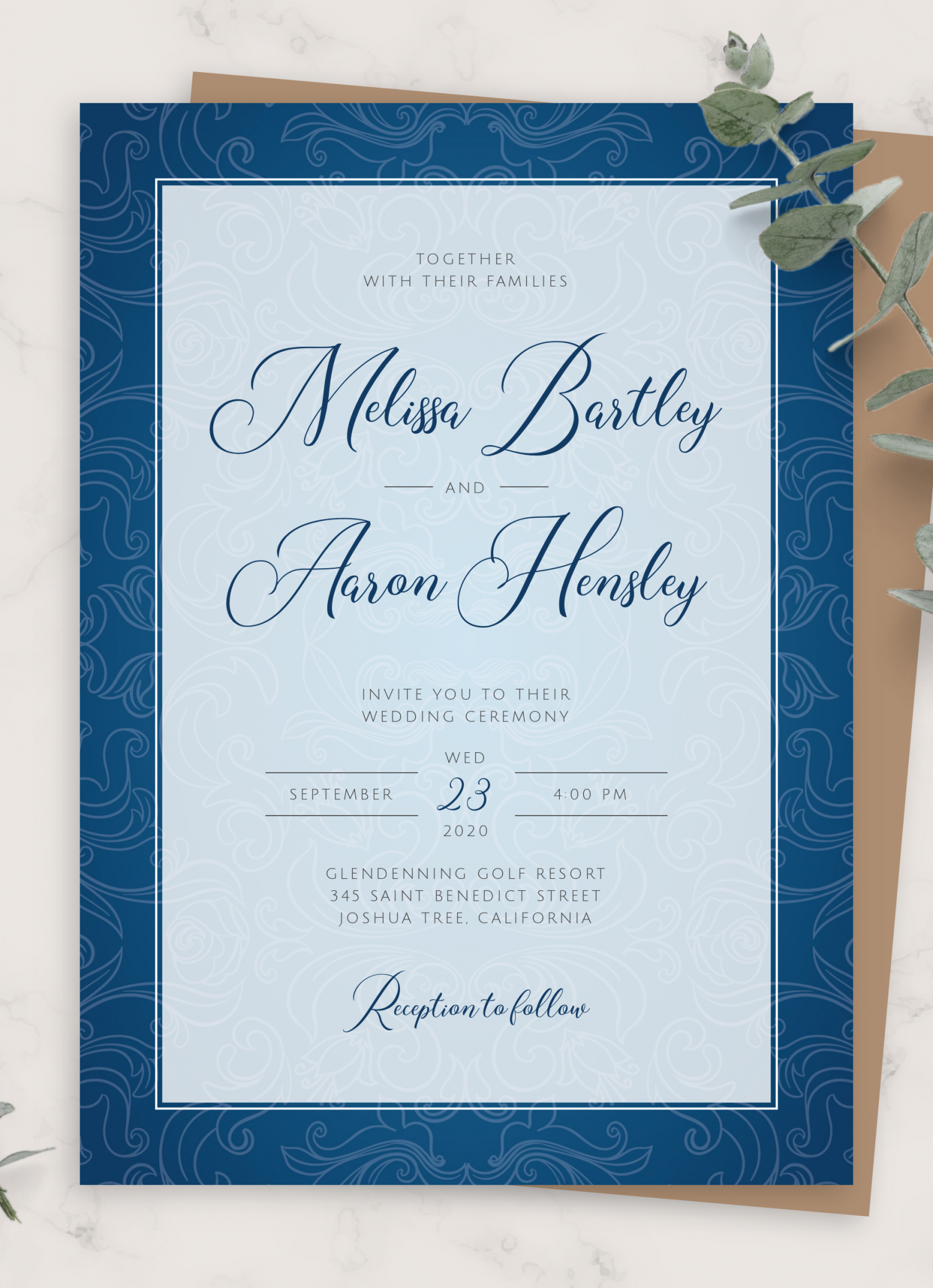 Download Printable Royal Blue Vintage Wedding Invitation PDF