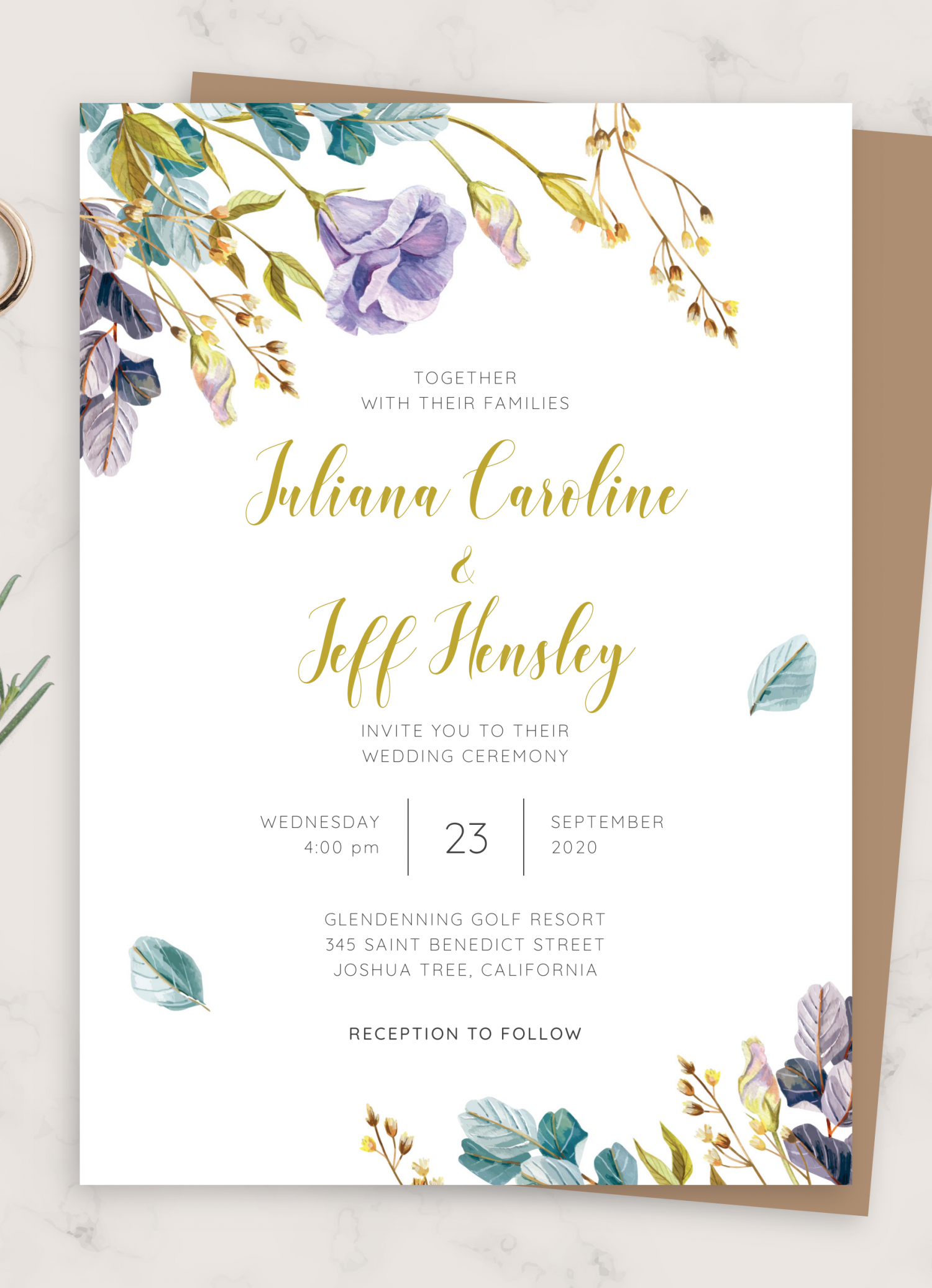 Download Printable Rustic Bloom Floral Wedding Invitation PDF
