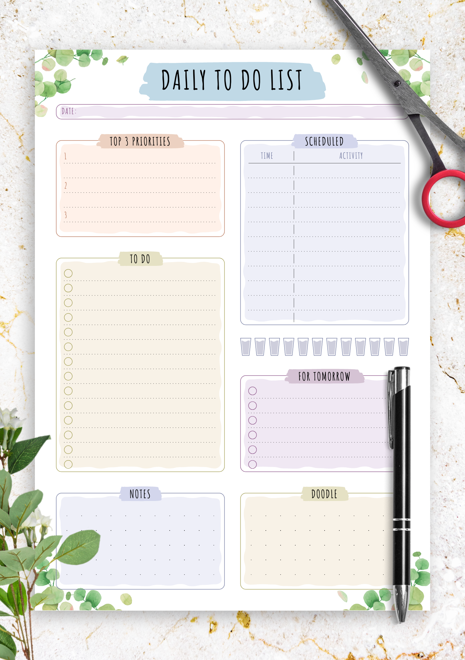 Download Printable Scheduled Daily To Do List - Floral ...