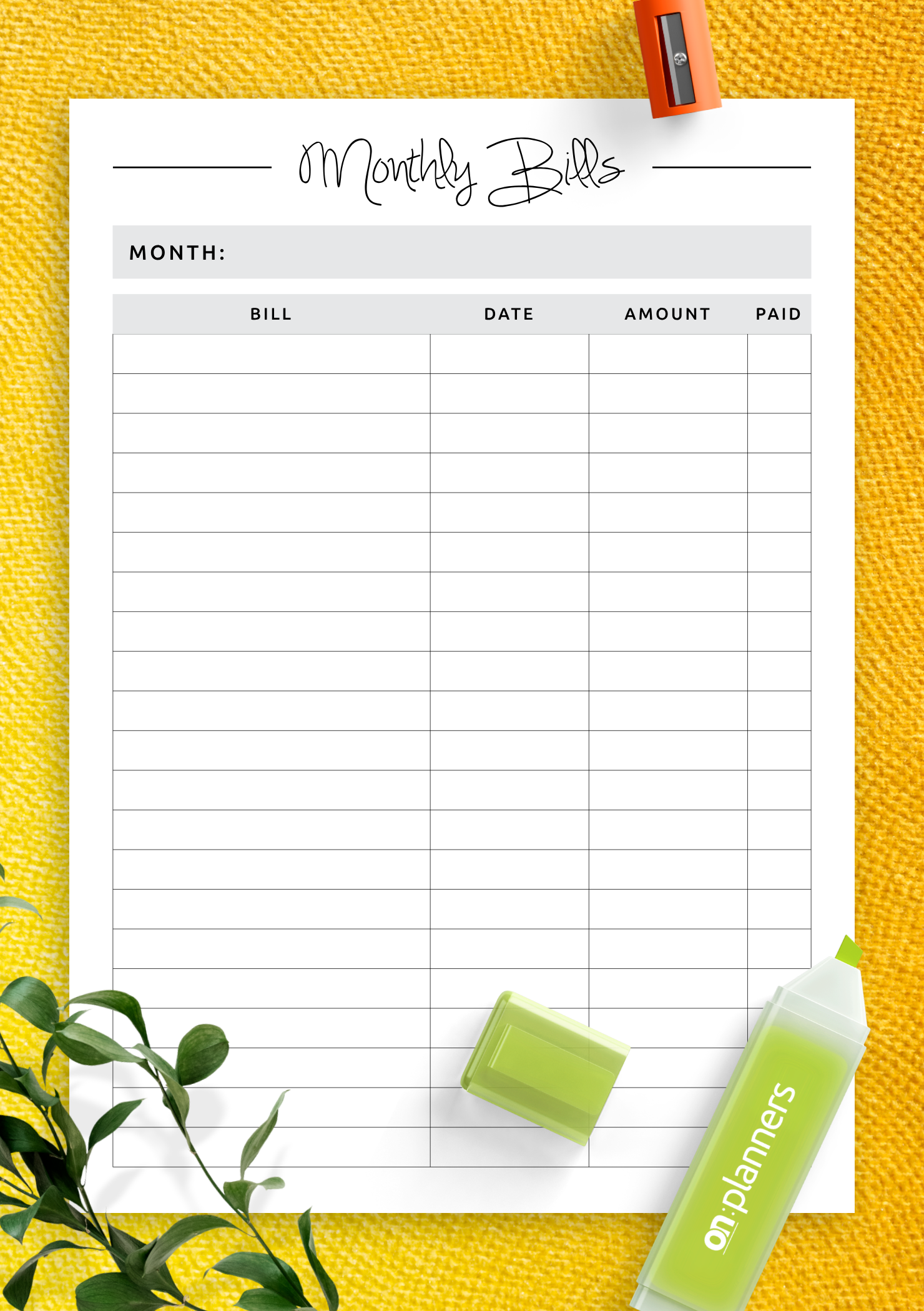 Download Printable Simple budget template PDF
