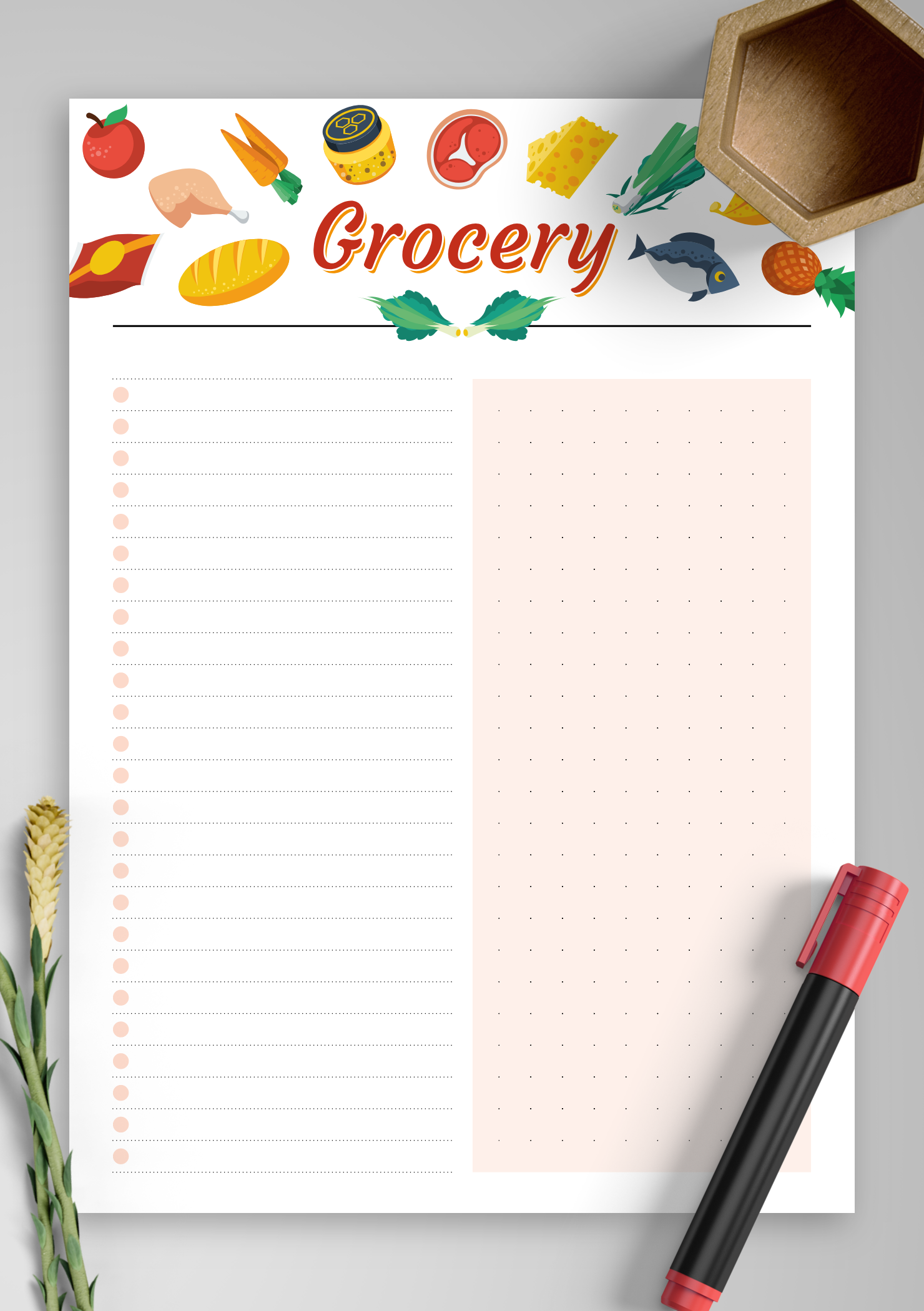 graphic about Free Printable Stationery Pdf named No cost Printable Easy colorful grocery checklist PDF Obtain