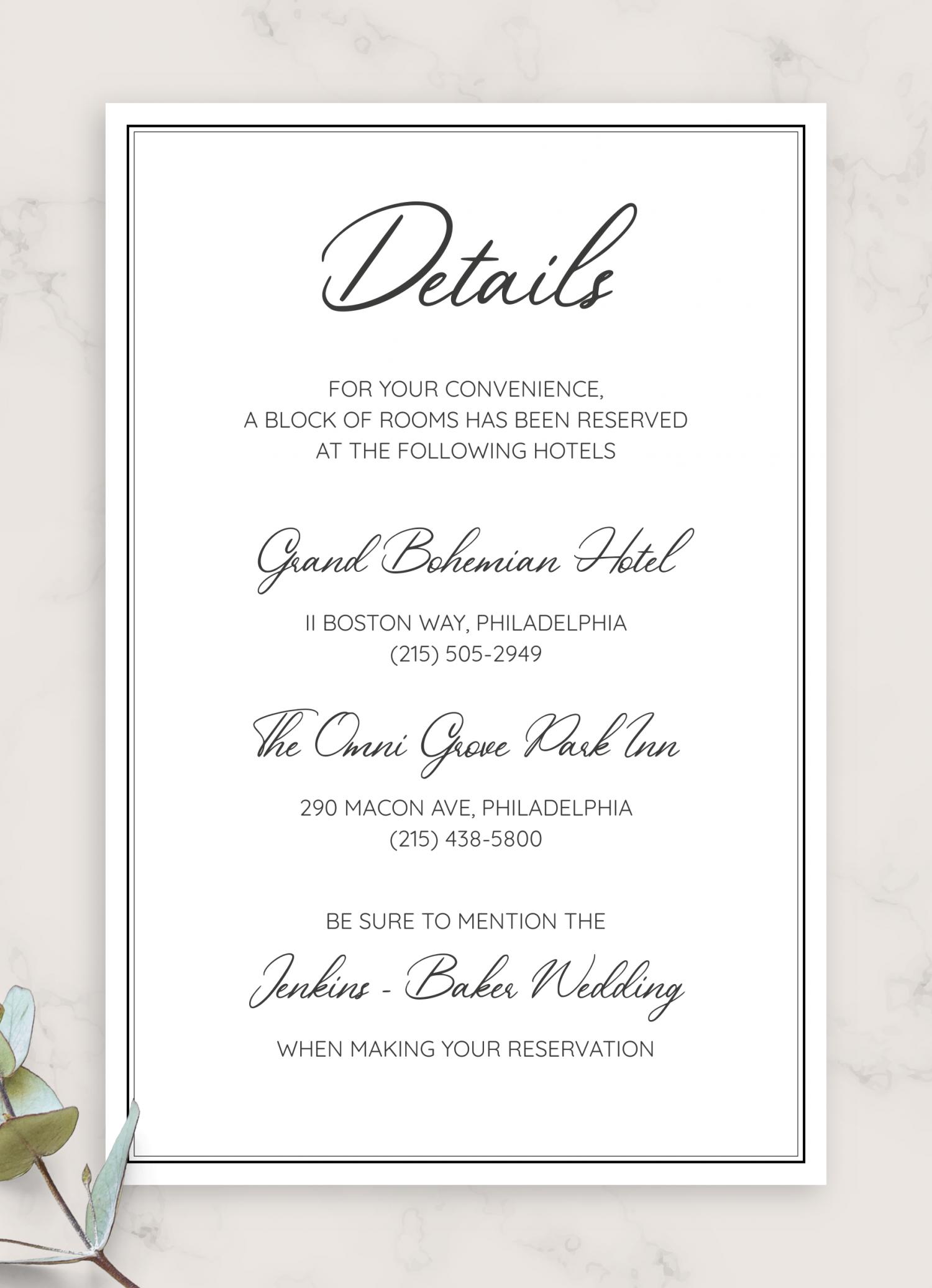 Download Printable Simple Elegant Wedding Invitation Suite PDF