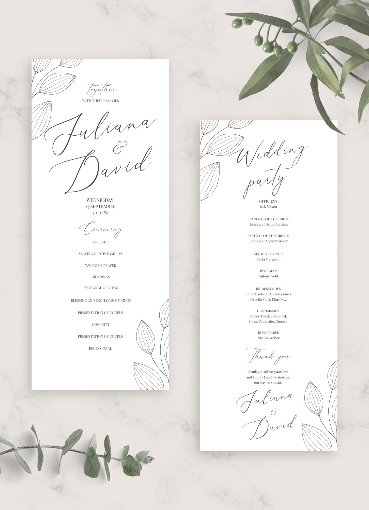download printable simple floral wedding program card pdf