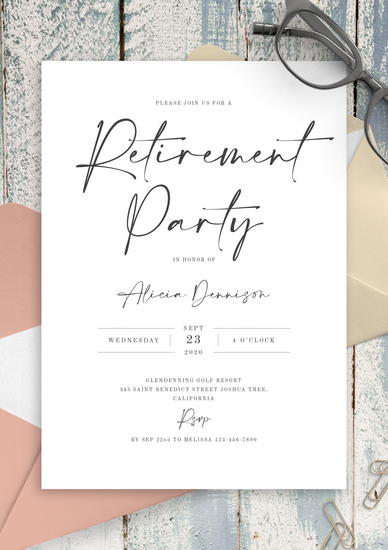 Download Printable Simple Minimalist Retirement Party Invitation PDF