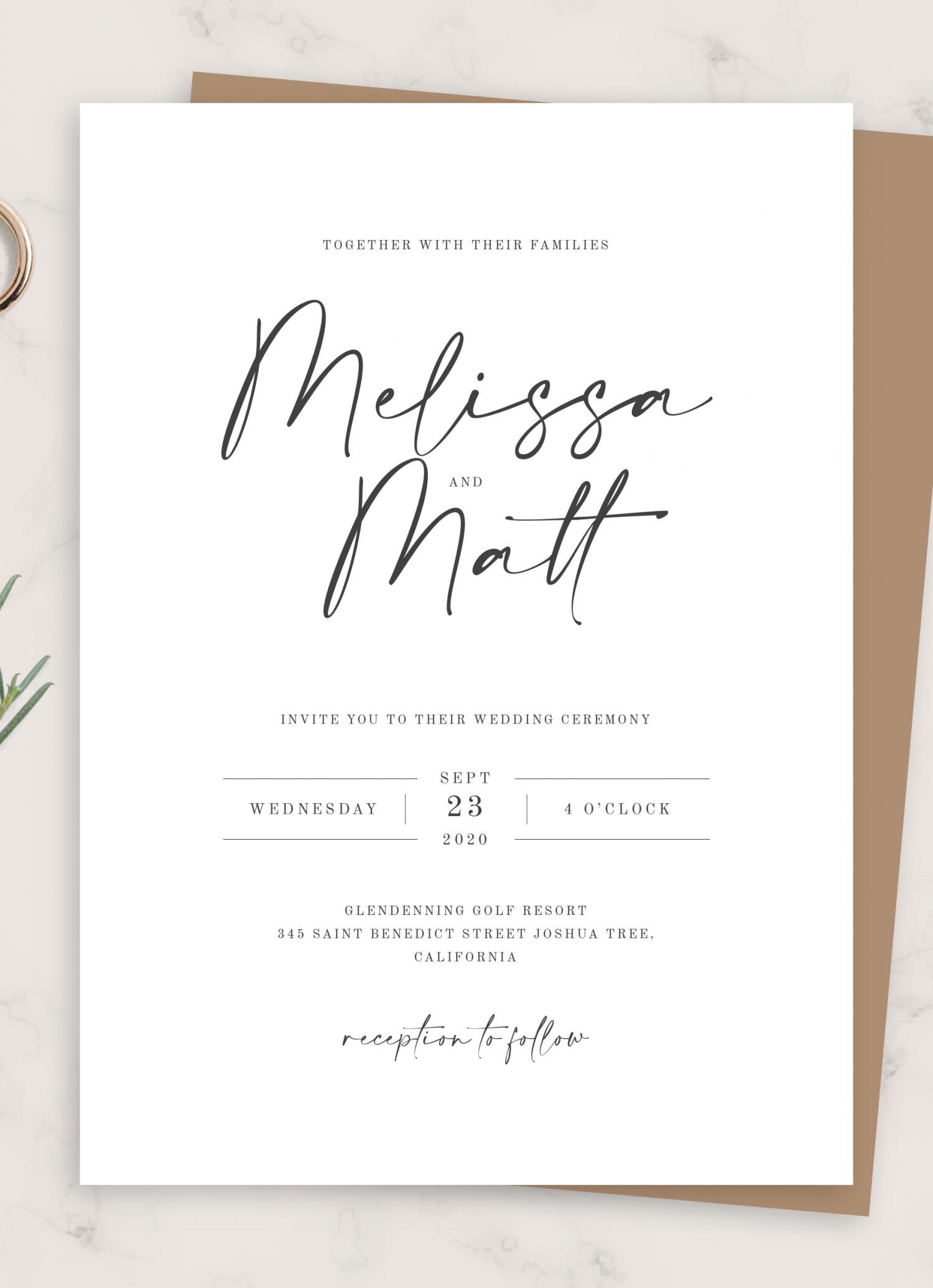 Download Printable Simple Minimalist Wedding Invitation Suite PDF