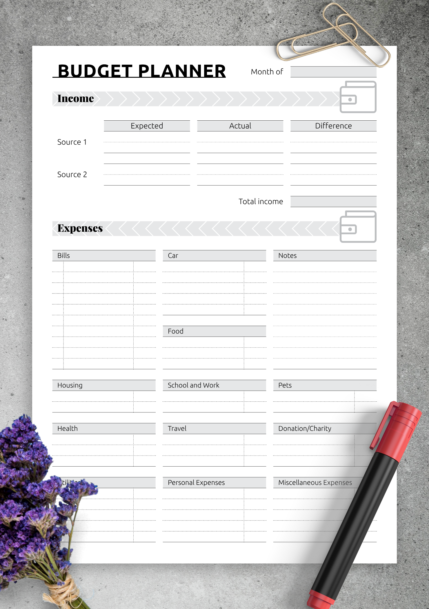 Download Printable Simple monthly budget template PDF