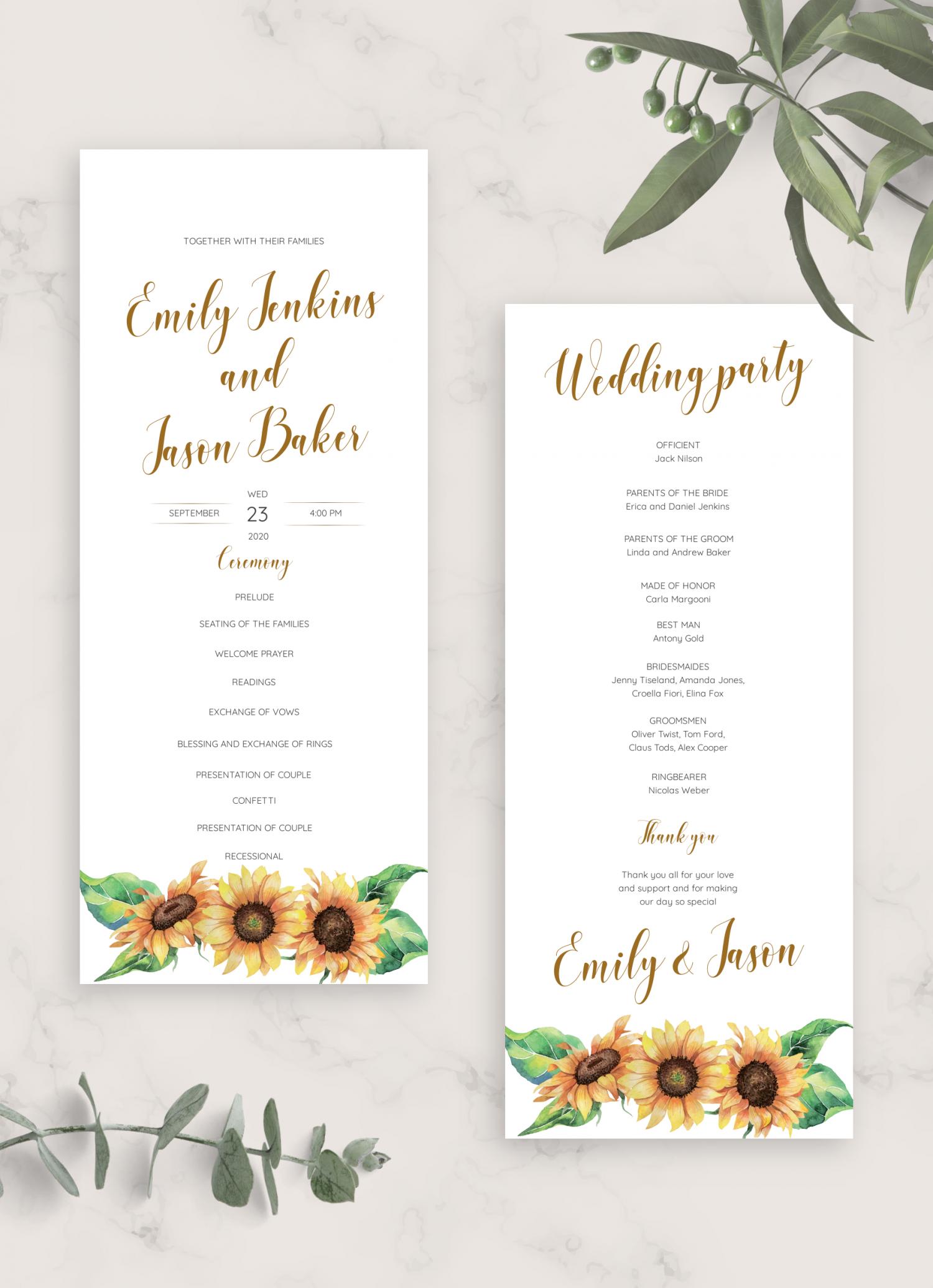 download printable simple sunflower wedding program card pdf