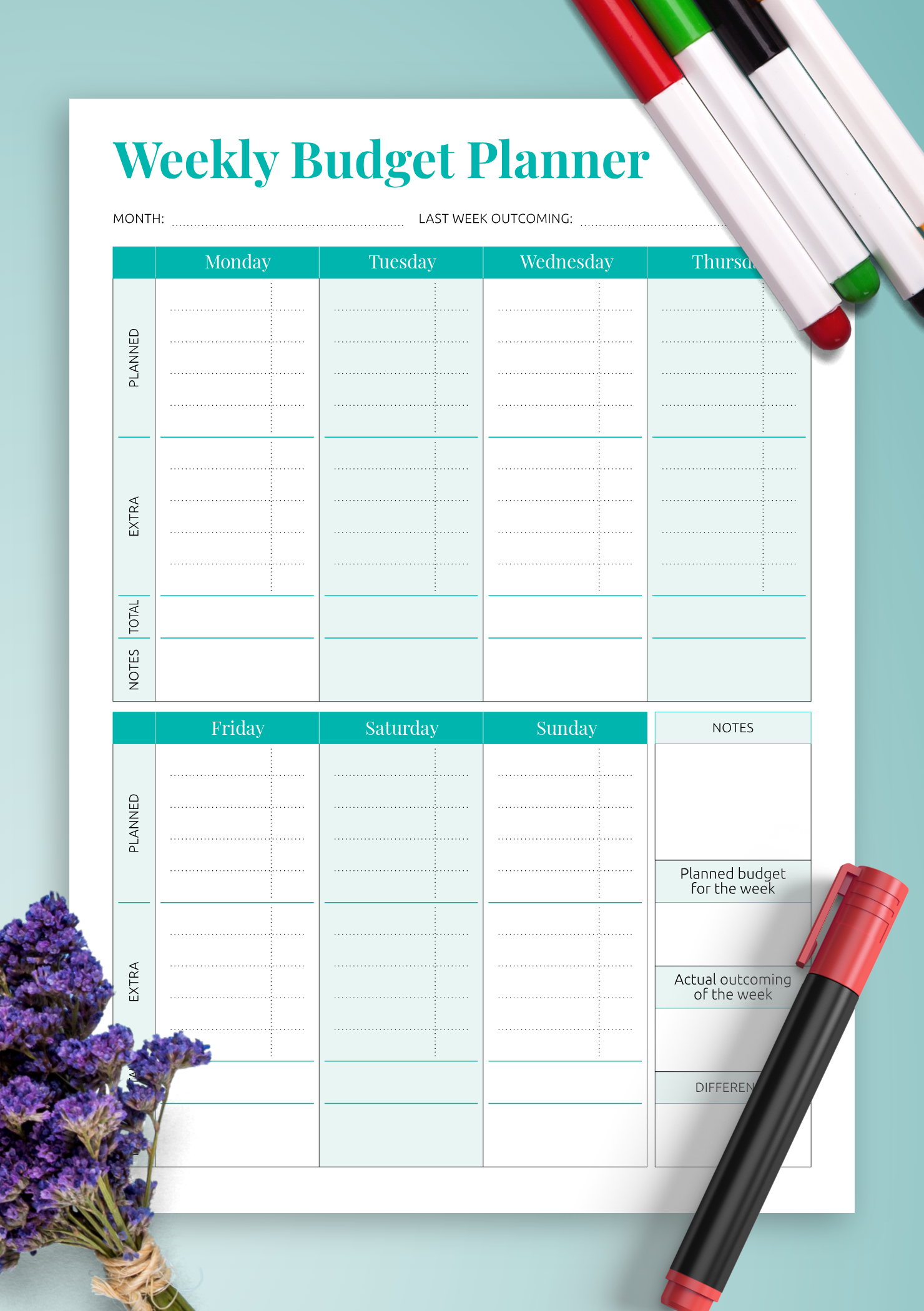 Download Printable Simple Weekly Budget Template PDF