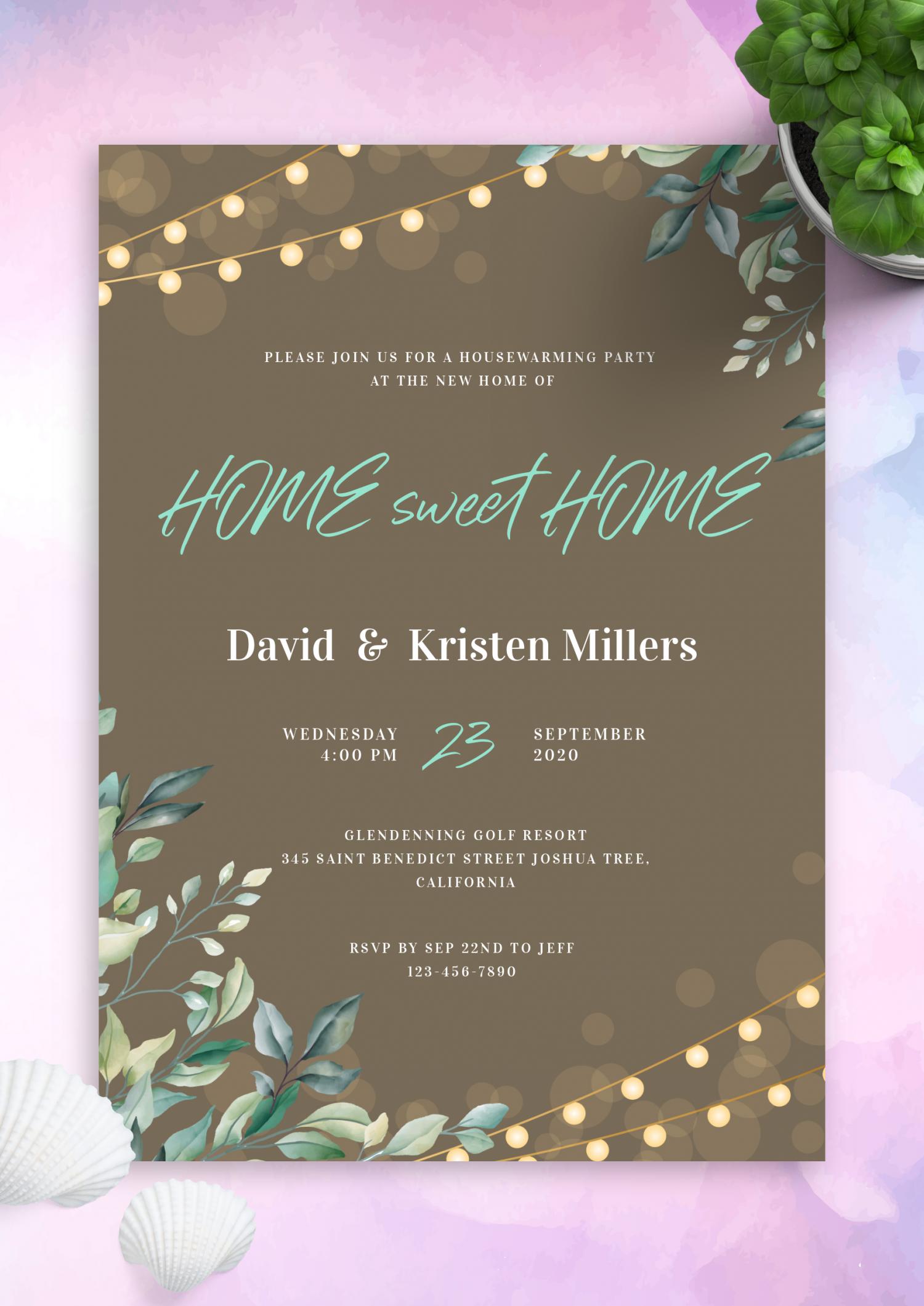 download printable string lights housewarming invitation pdf