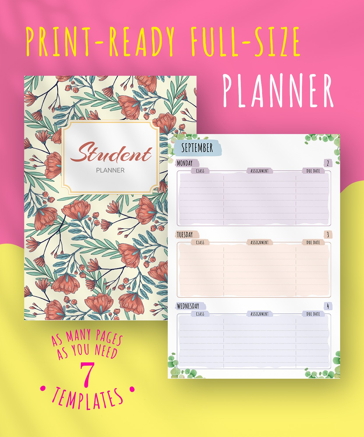 image about Printable Student Planner Download titled Absolutely free Printable Scholar Planner - Floral Layout PDF Obtain