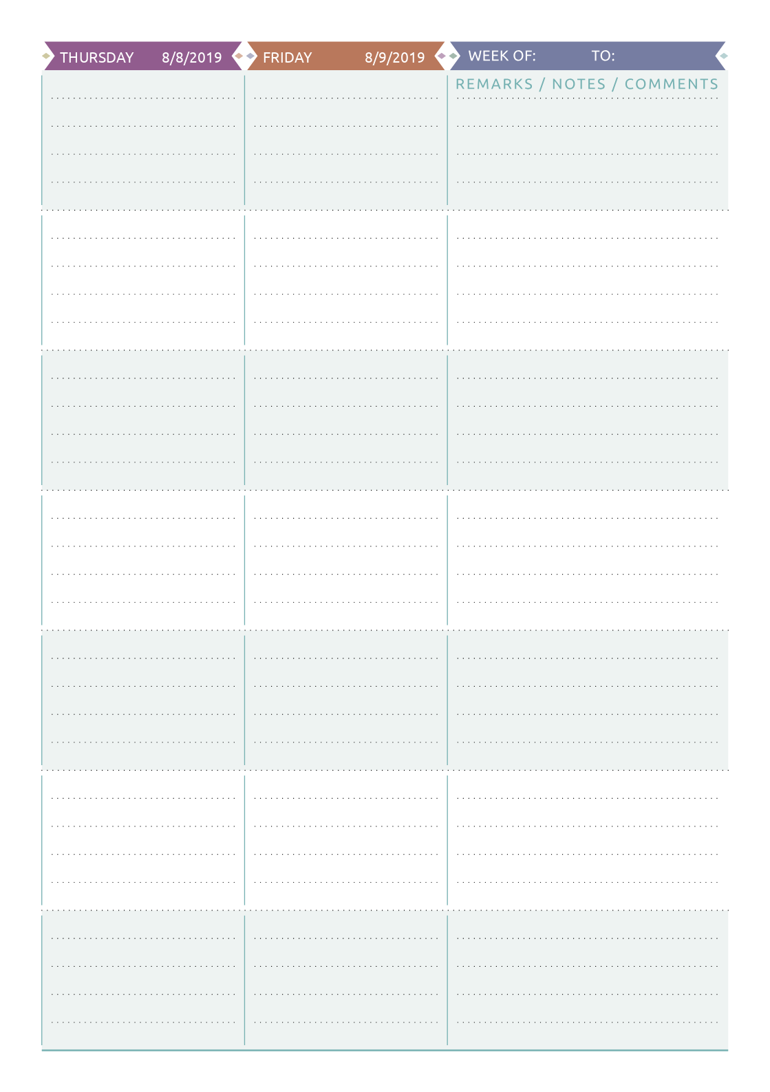 Download Printable Teacher Planner Casual Style Pdf
