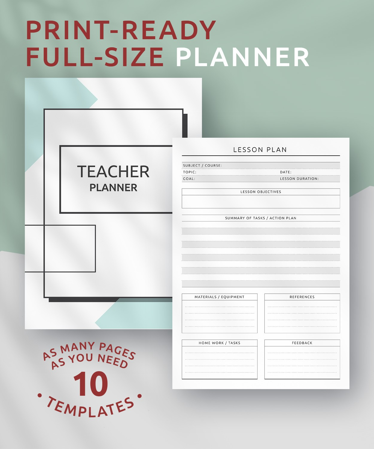 picture about Printable Teacher Planner identified as No cost Printable Instructor Planner - Initial Design PDF Obtain