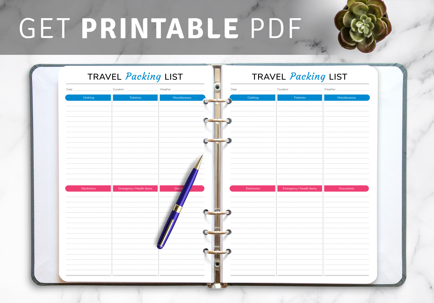 Travel List Template from onplanners.com