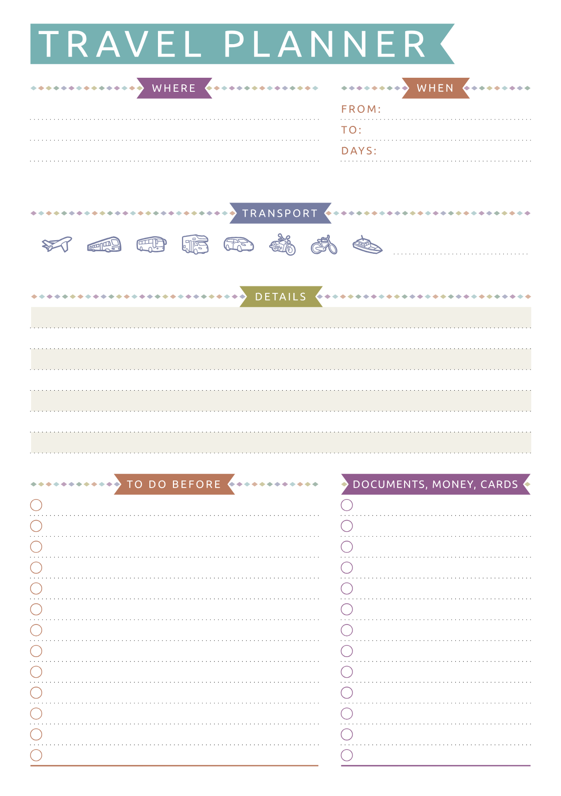 Download Printable Travel Planner - Casual Style PDF