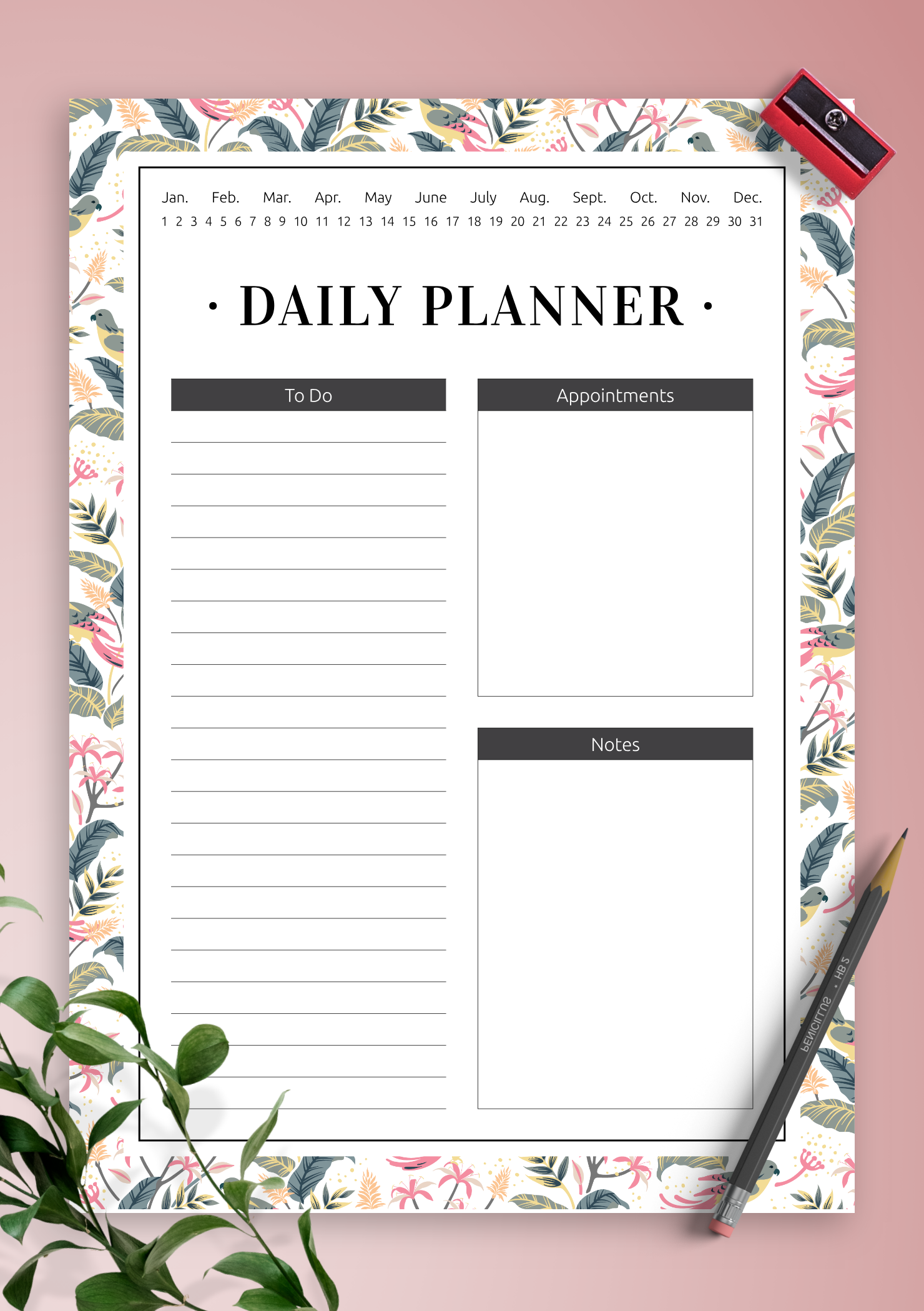 Download Printable Undated Daily Planner with To Do list PDF