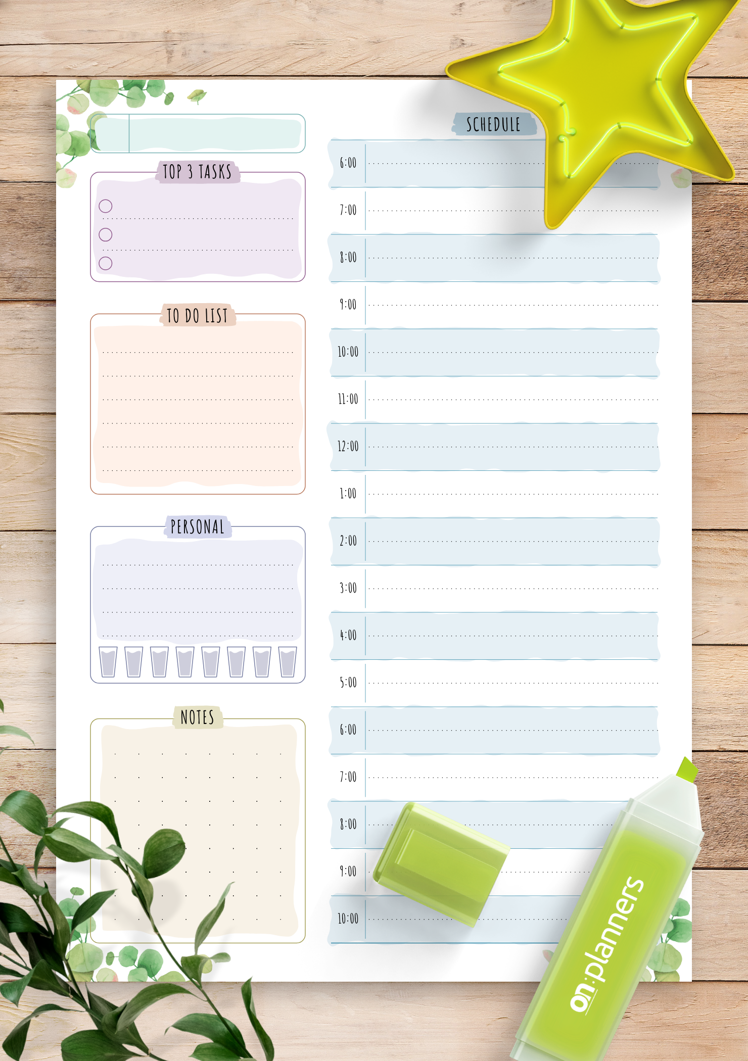 Download Printable Undated Daily Planner Template - Floral ...