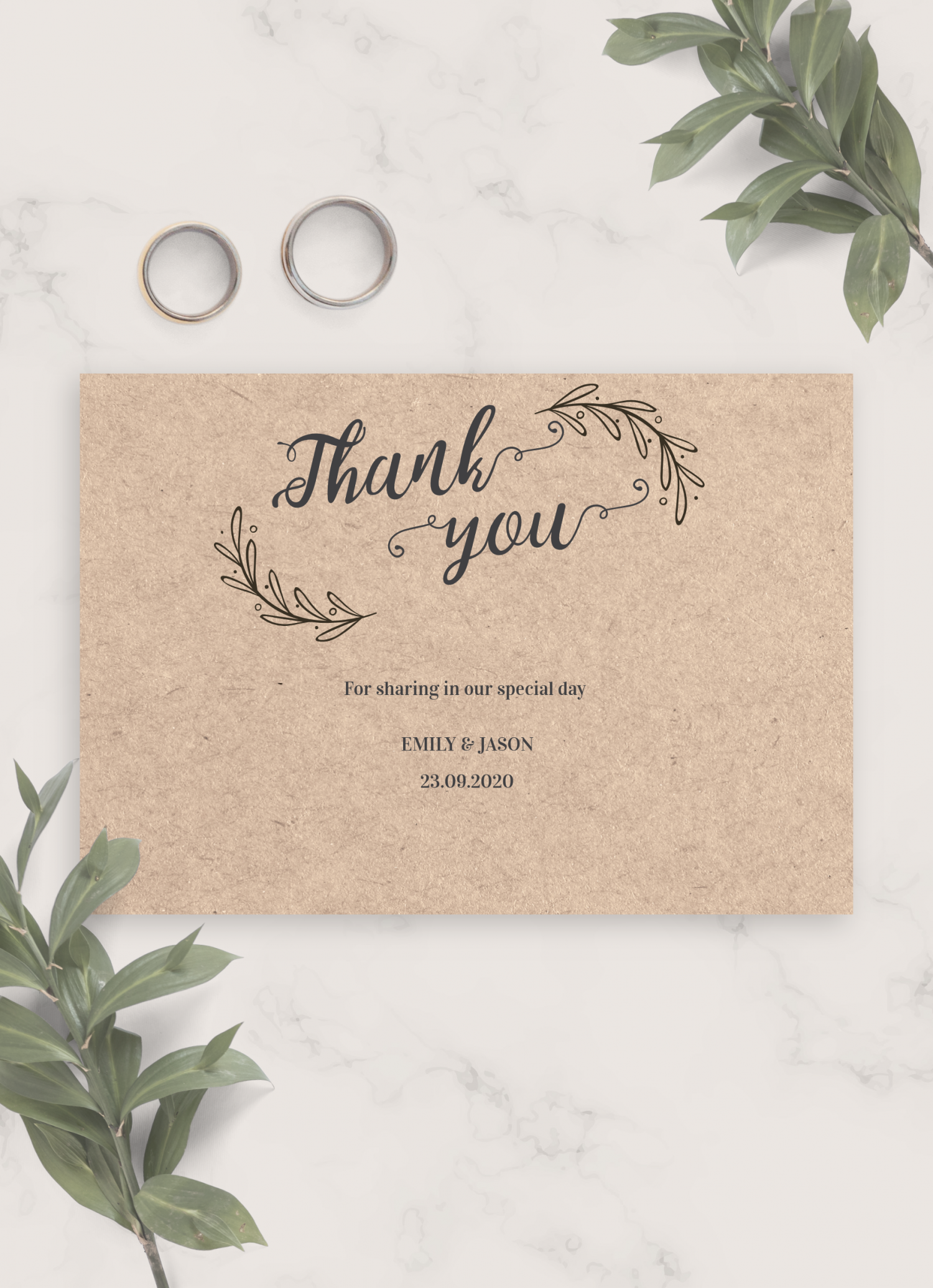 Download Printable Vintage Rustic Wedding Thank You Card Pdf