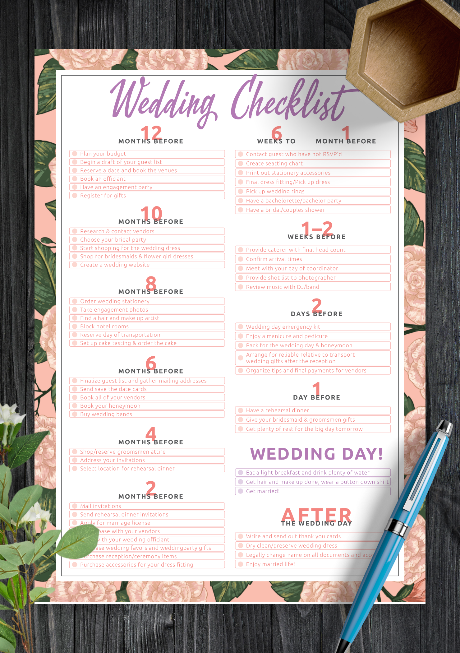 photograph relating to Free Printable Wedding Planner Templates titled Absolutely free Printable Marriage ceremony Listing PDF Down load