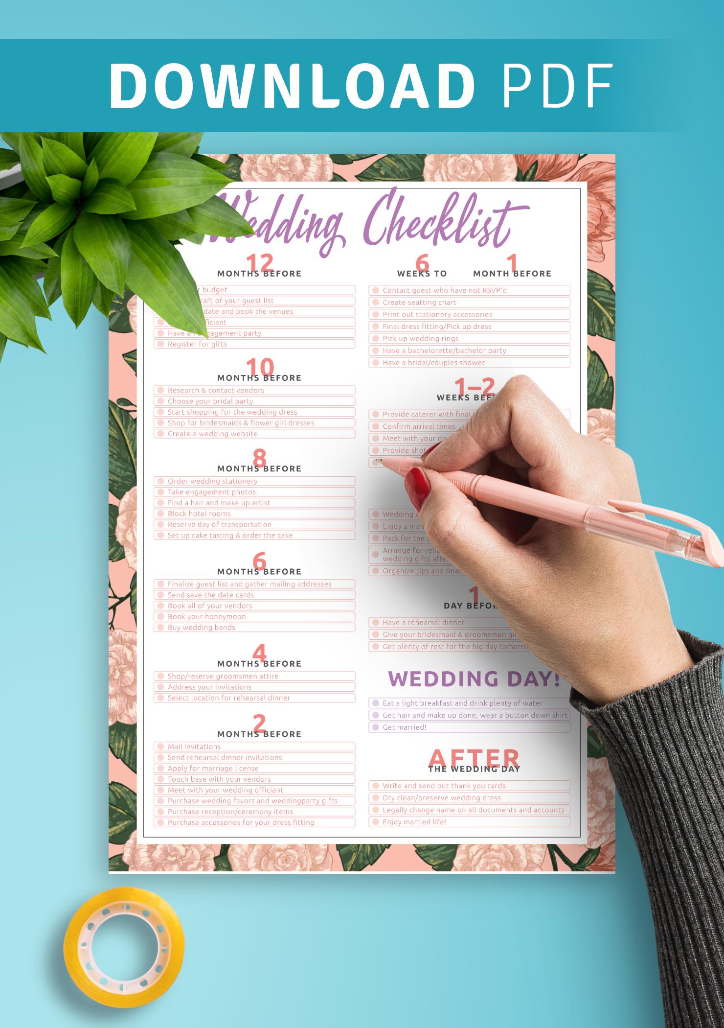 Download Printable Wedding Checklist Pdf