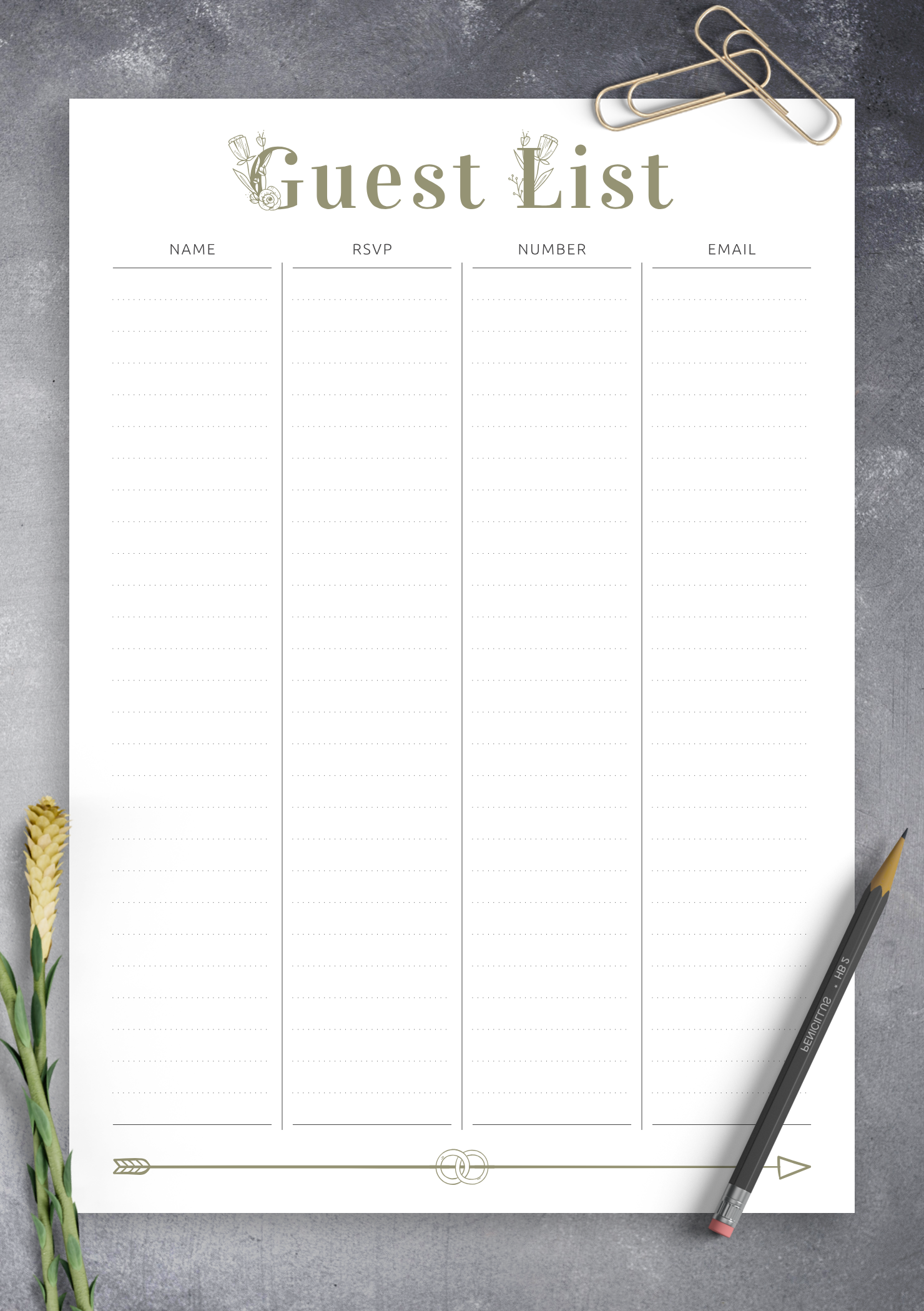 image regarding Arrow Template Printable called Absolutely free Printable Marriage Visitor Record - Amour Arrow PDF Obtain