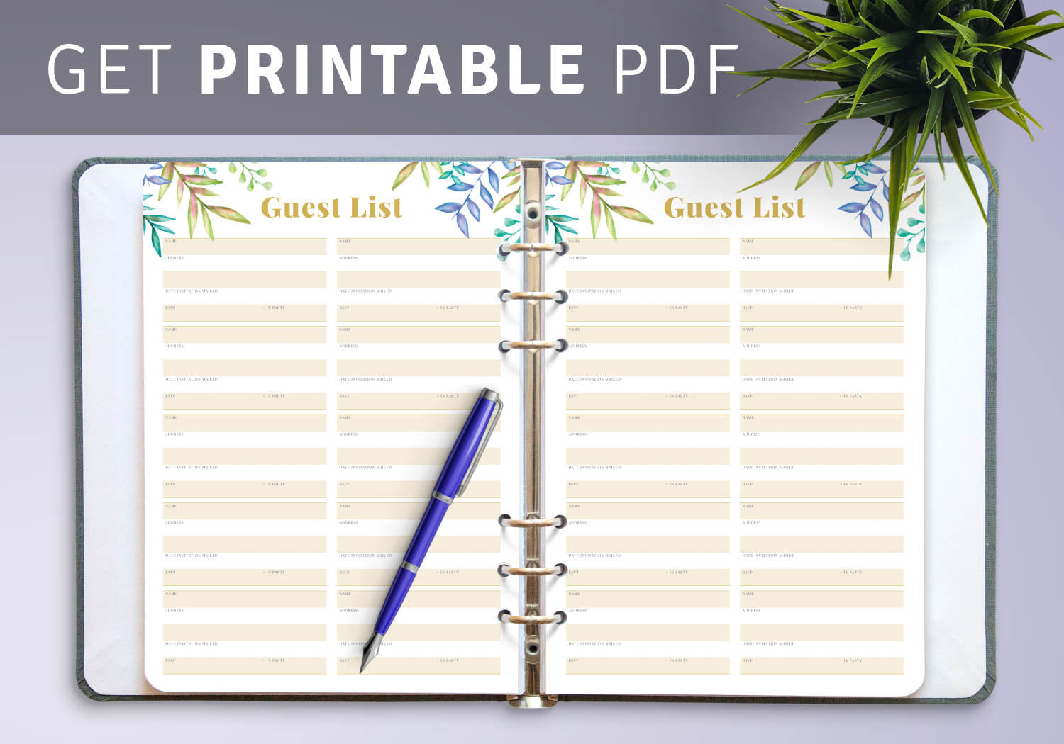 Download Printable Wedding Guest List With Botanical Pattern Pdf