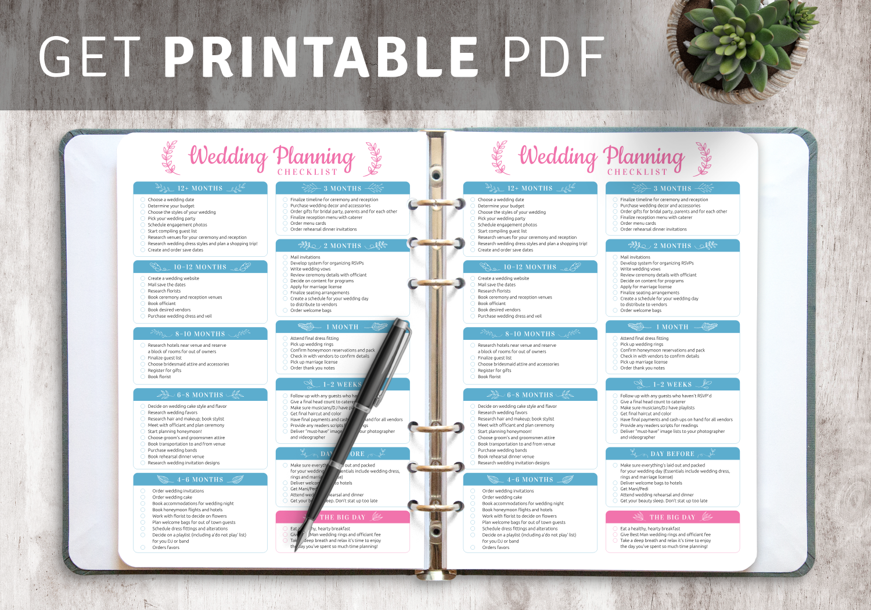 Download Printable Wedding Planning Checklist Pdf