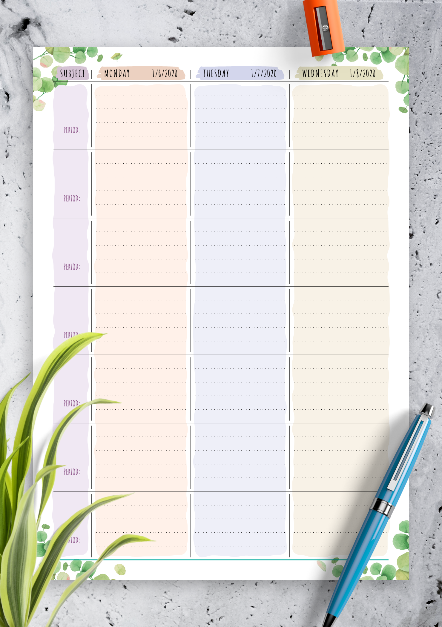 picture about Printable Lesson Plans identify Cost-free Printable 7 days Lesson Program - Floral Design and style PDF Down load