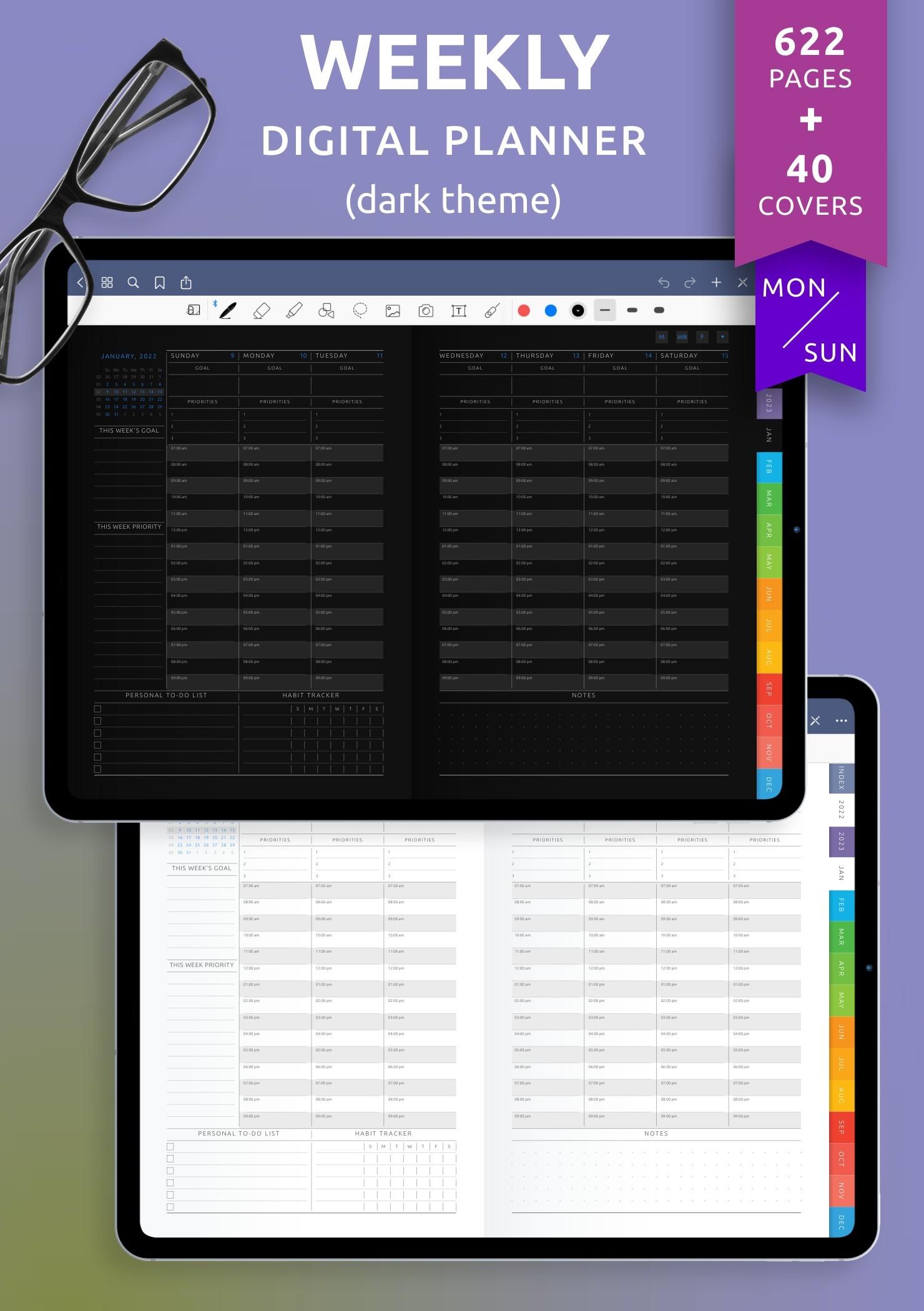Download Weekly Digital Planner PDF for GoodNotes, iPad Dark