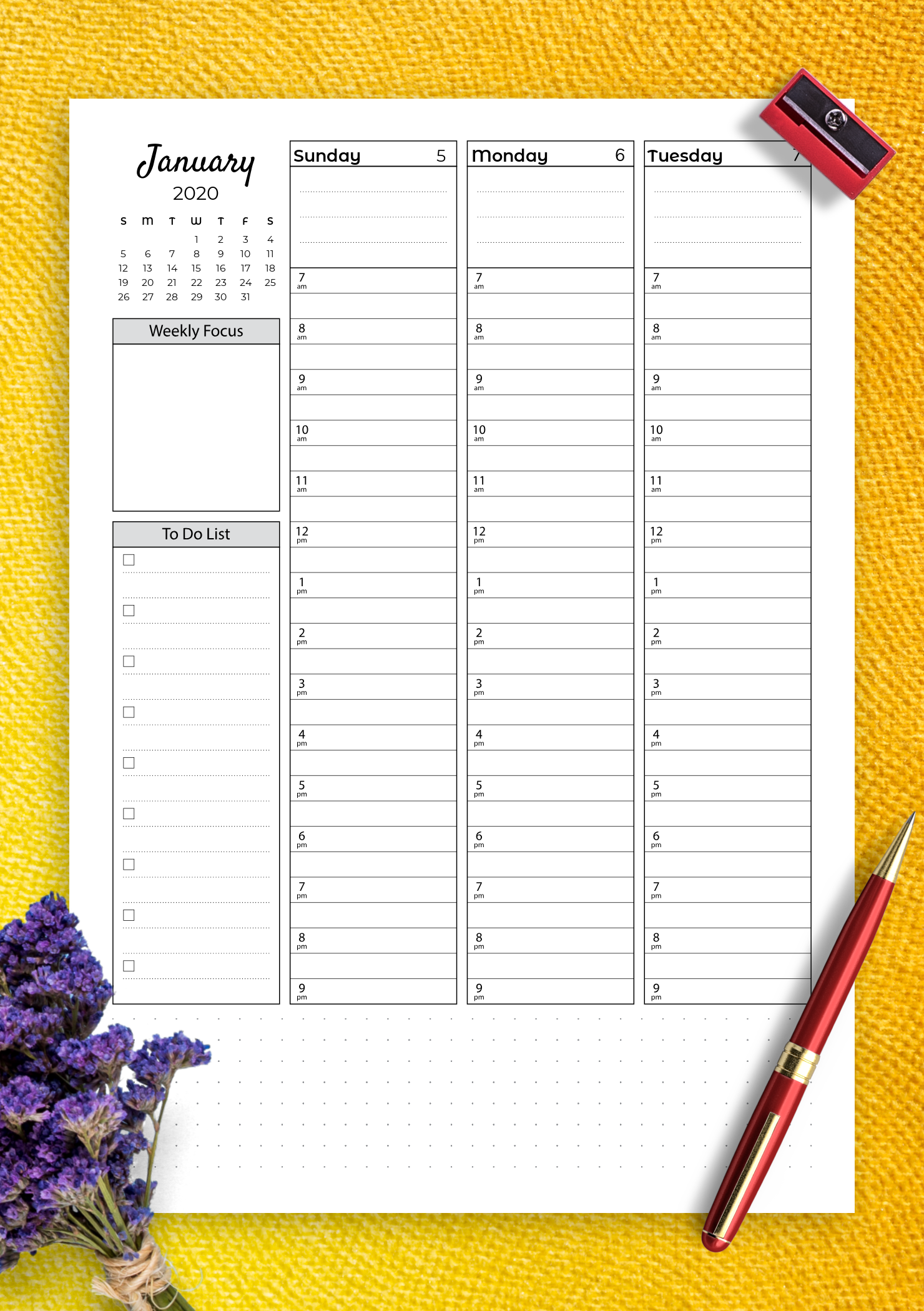 picture regarding Printable Weekly to Do List called Free of charge Printable Weekly hourly planner with todo record PDF Obtain