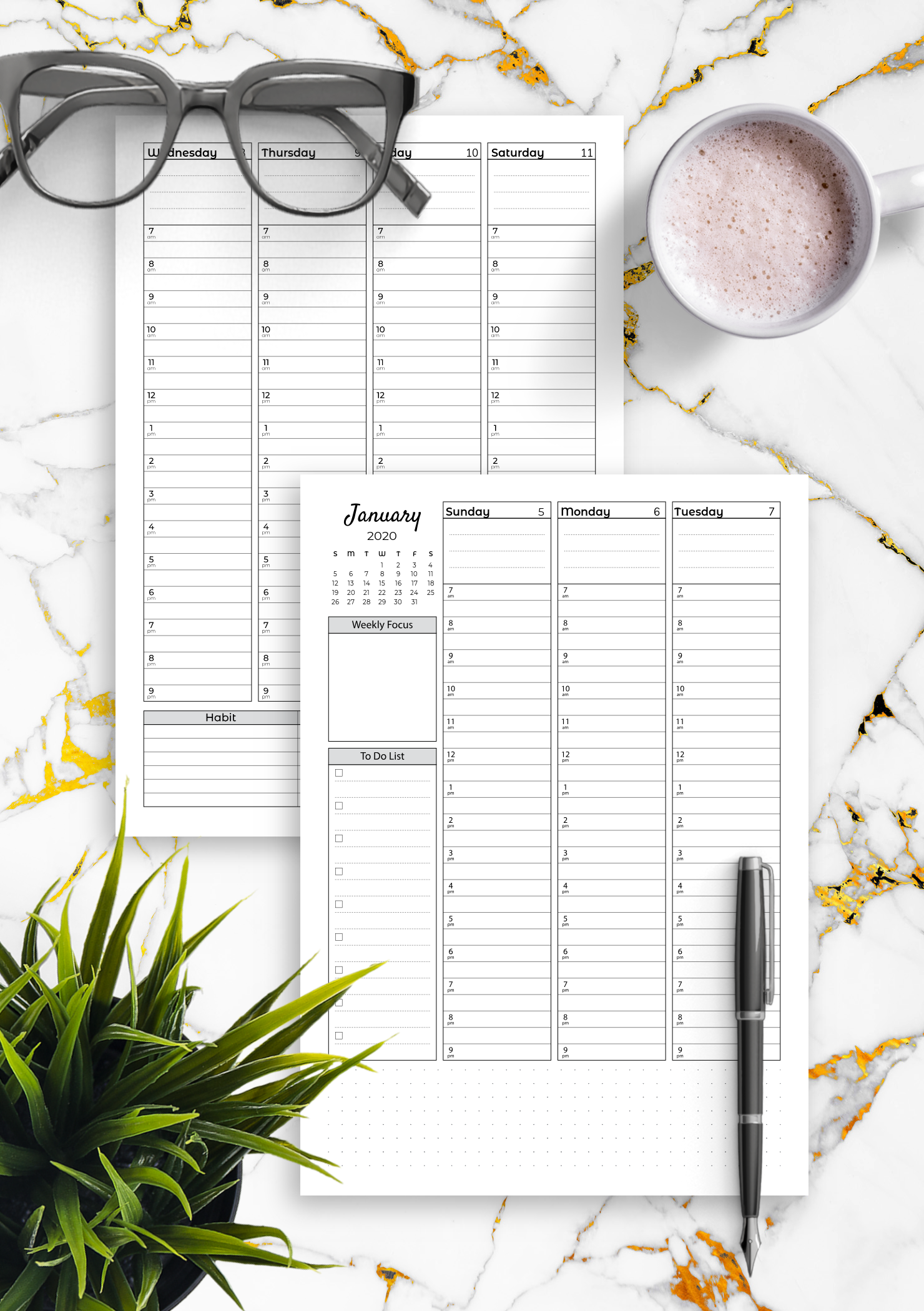 graphic about Printable Weekly to Do List named Cost-free Printable Weekly hourly planner with todo listing PDF Obtain
